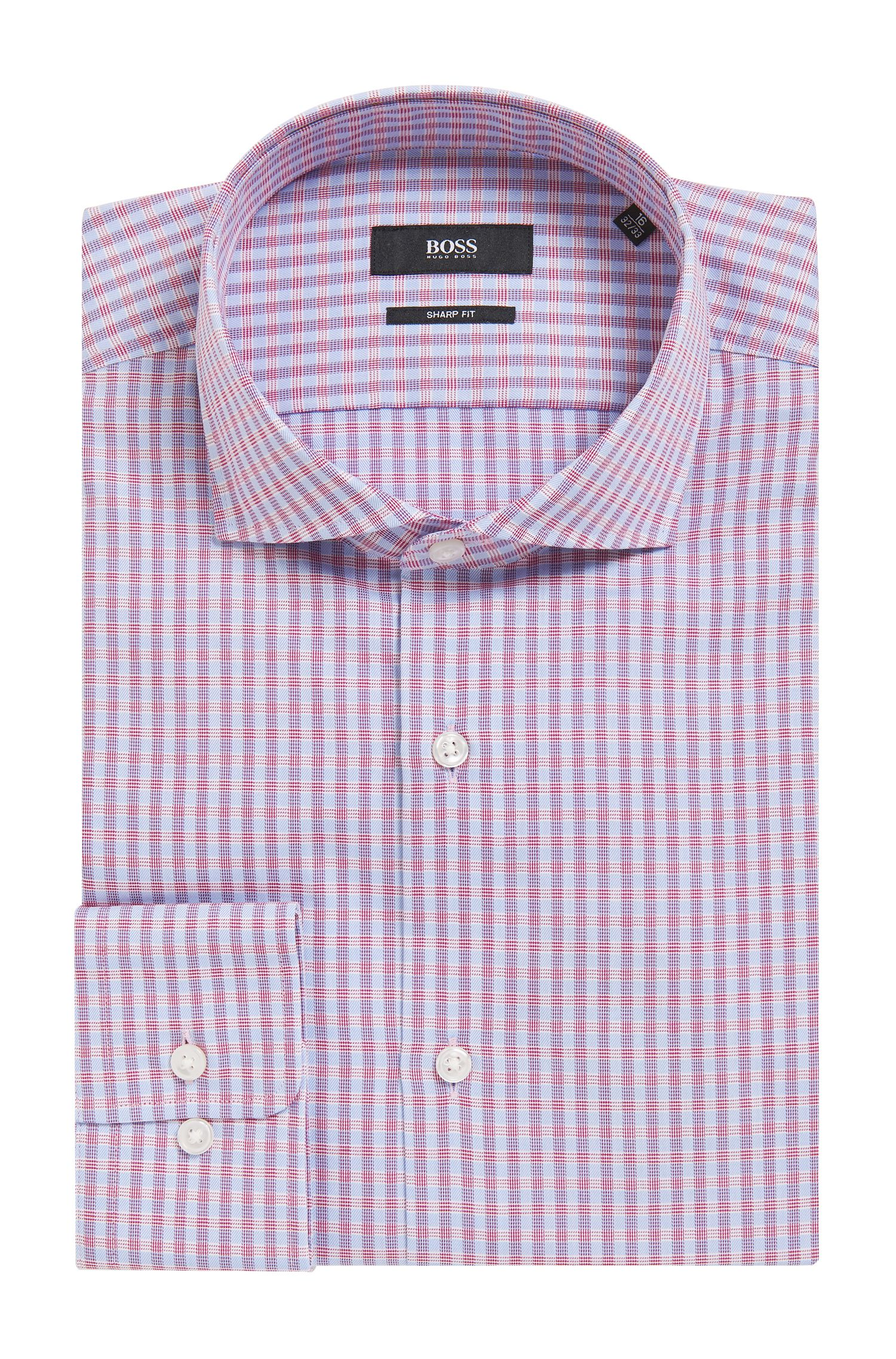 Checked Cotton Dress Shirt, Sharp Fit | Mark US, Dark pink