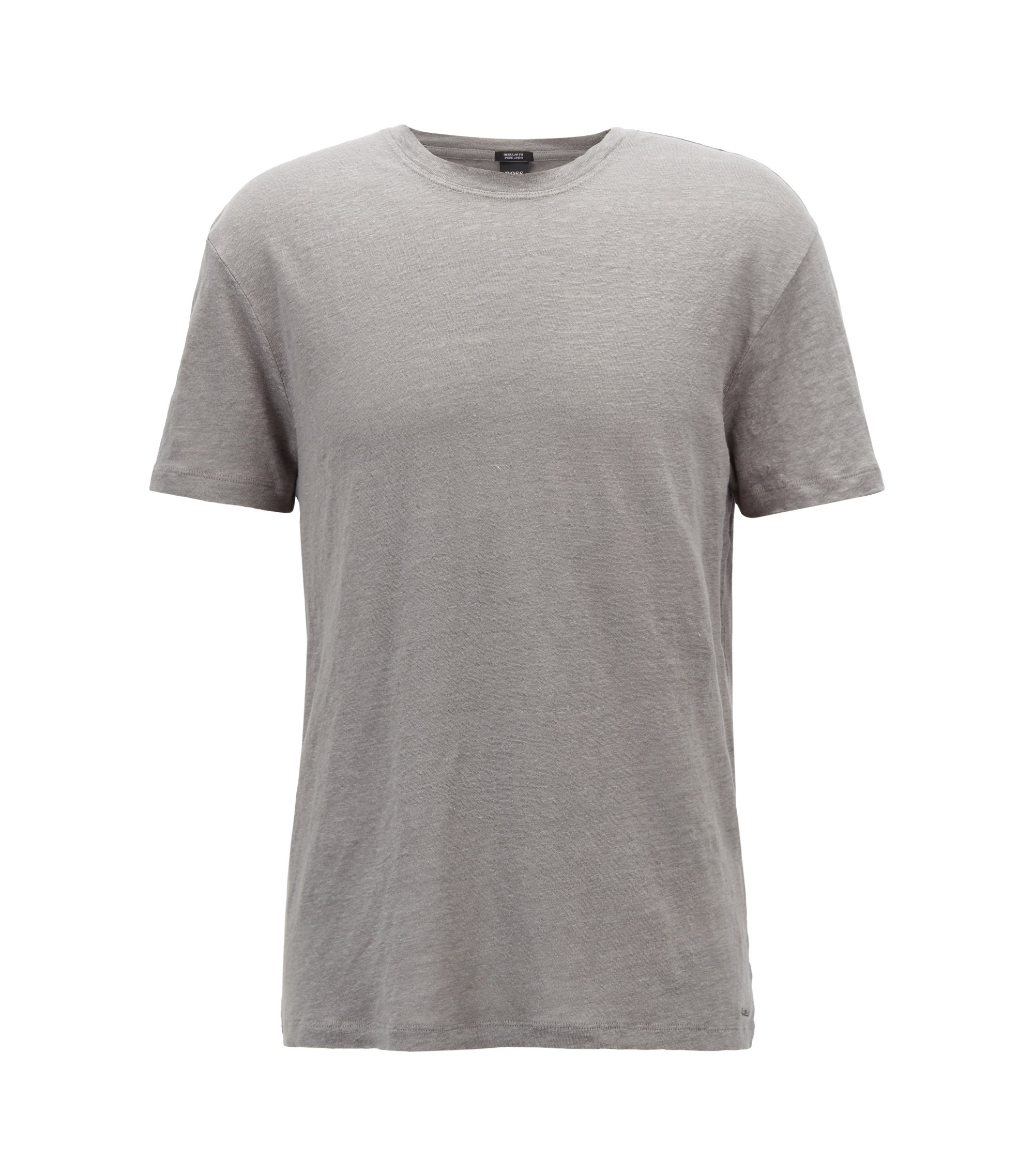 Crew-neck T-shirt in single-jersey linen, Open Grey