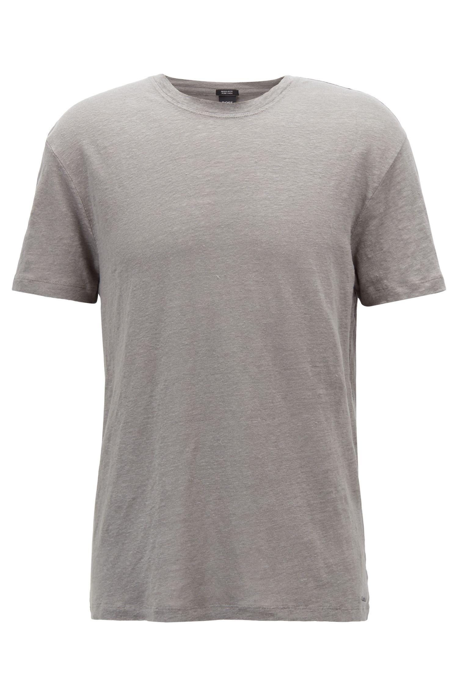 Crew-neck T-shirt in single-jersey linen, Open Grey