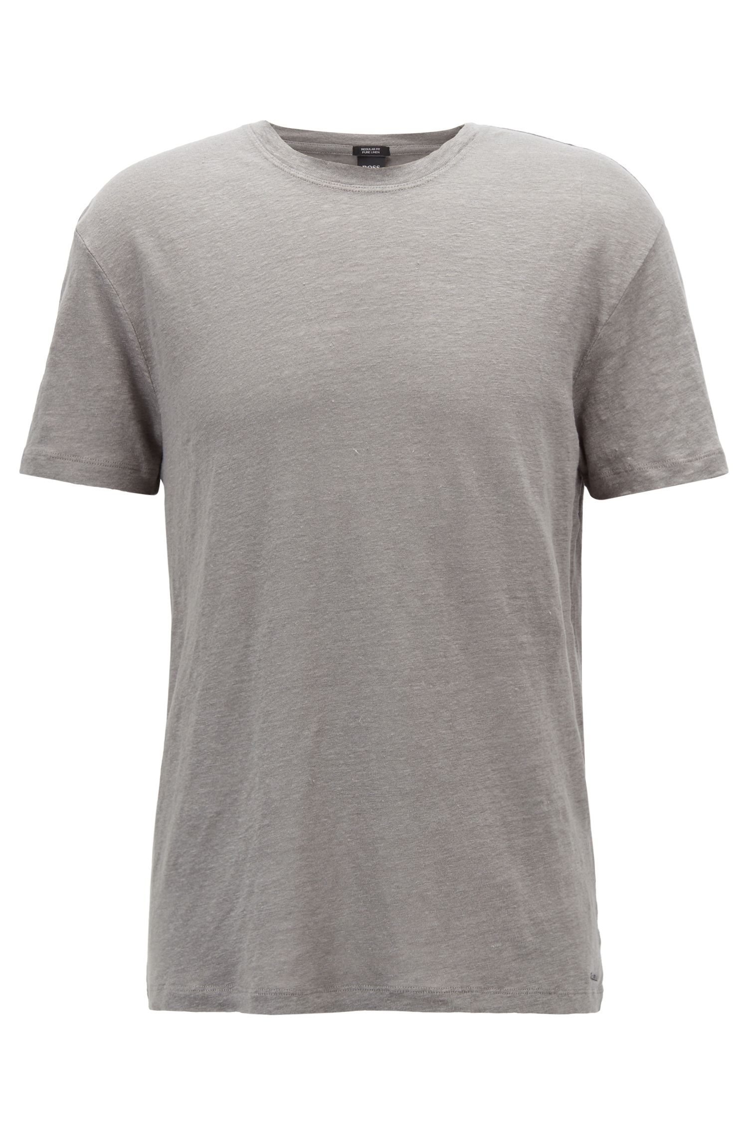 Crew-neck T-shirt in single-jersey linen
