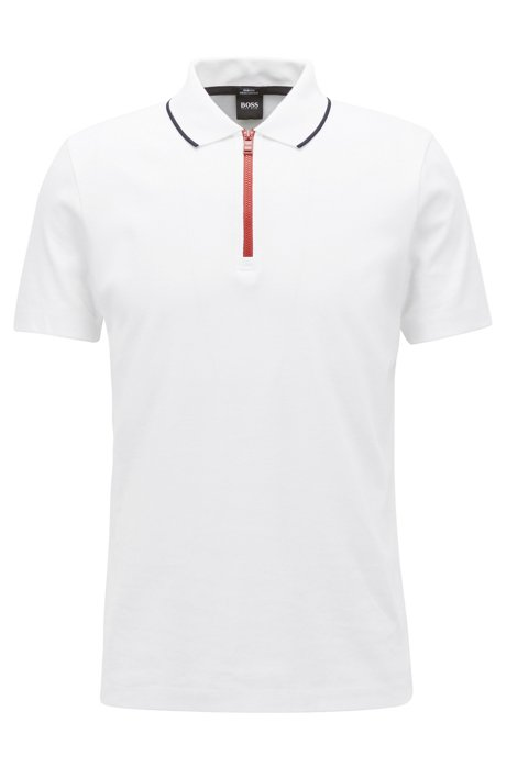 36393ba78 BOSS - Mercerized cotton polo shirt with contrast zip