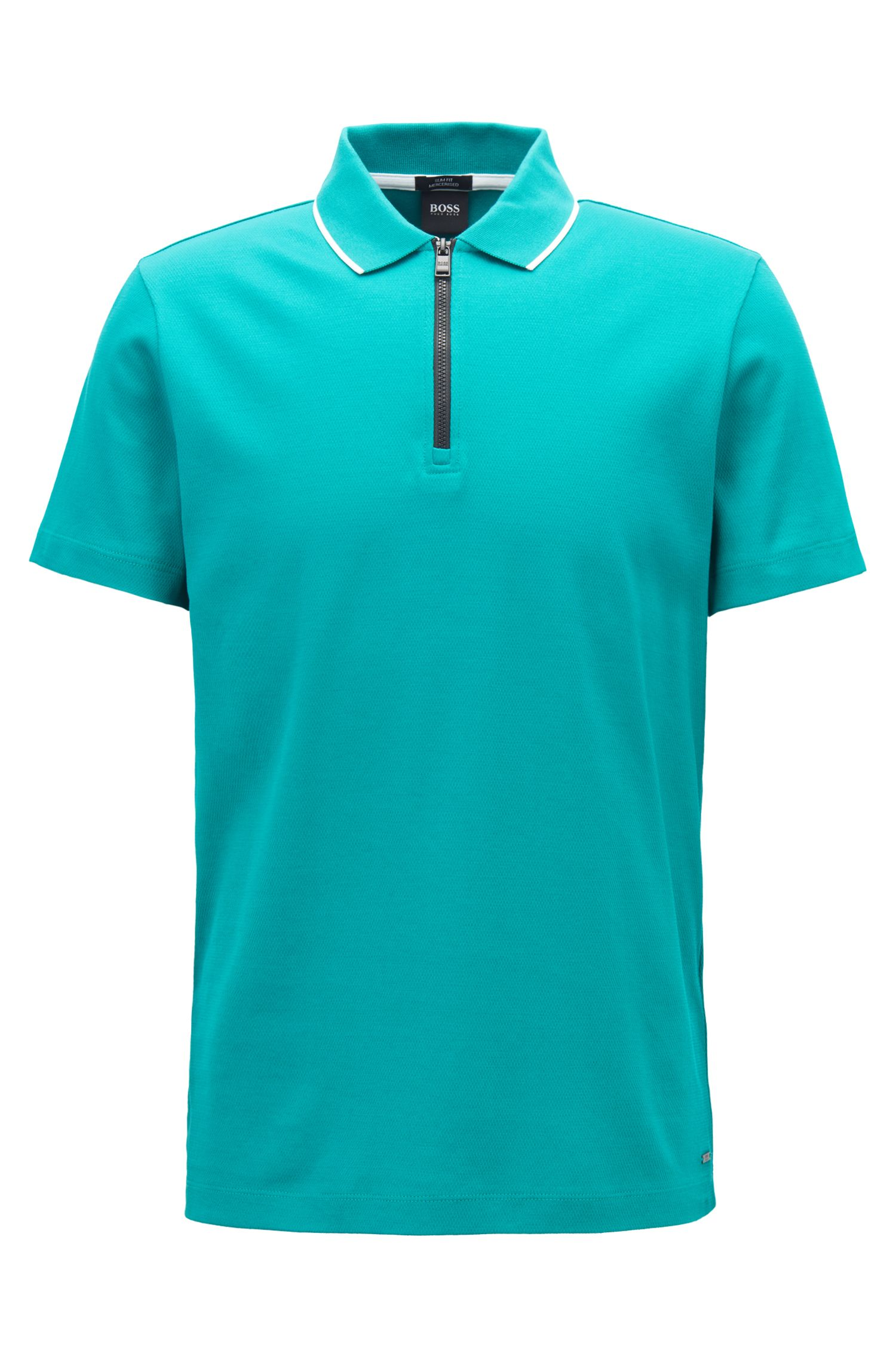 Mercerized cotton polo shirt with contrast zip, Green