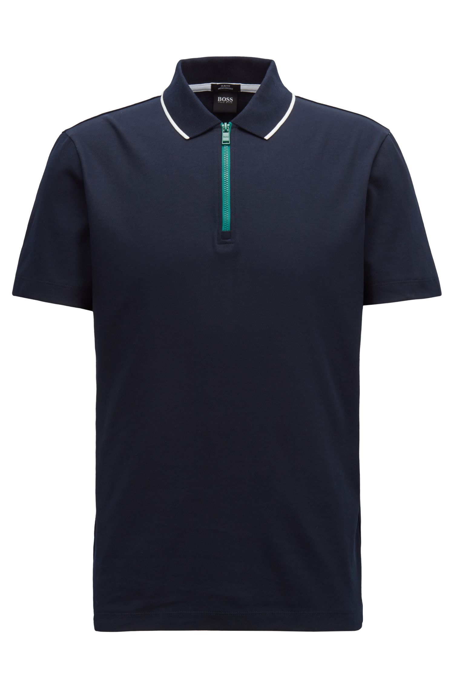 Mercerized cotton polo shirt with contrast zip, Open Blue