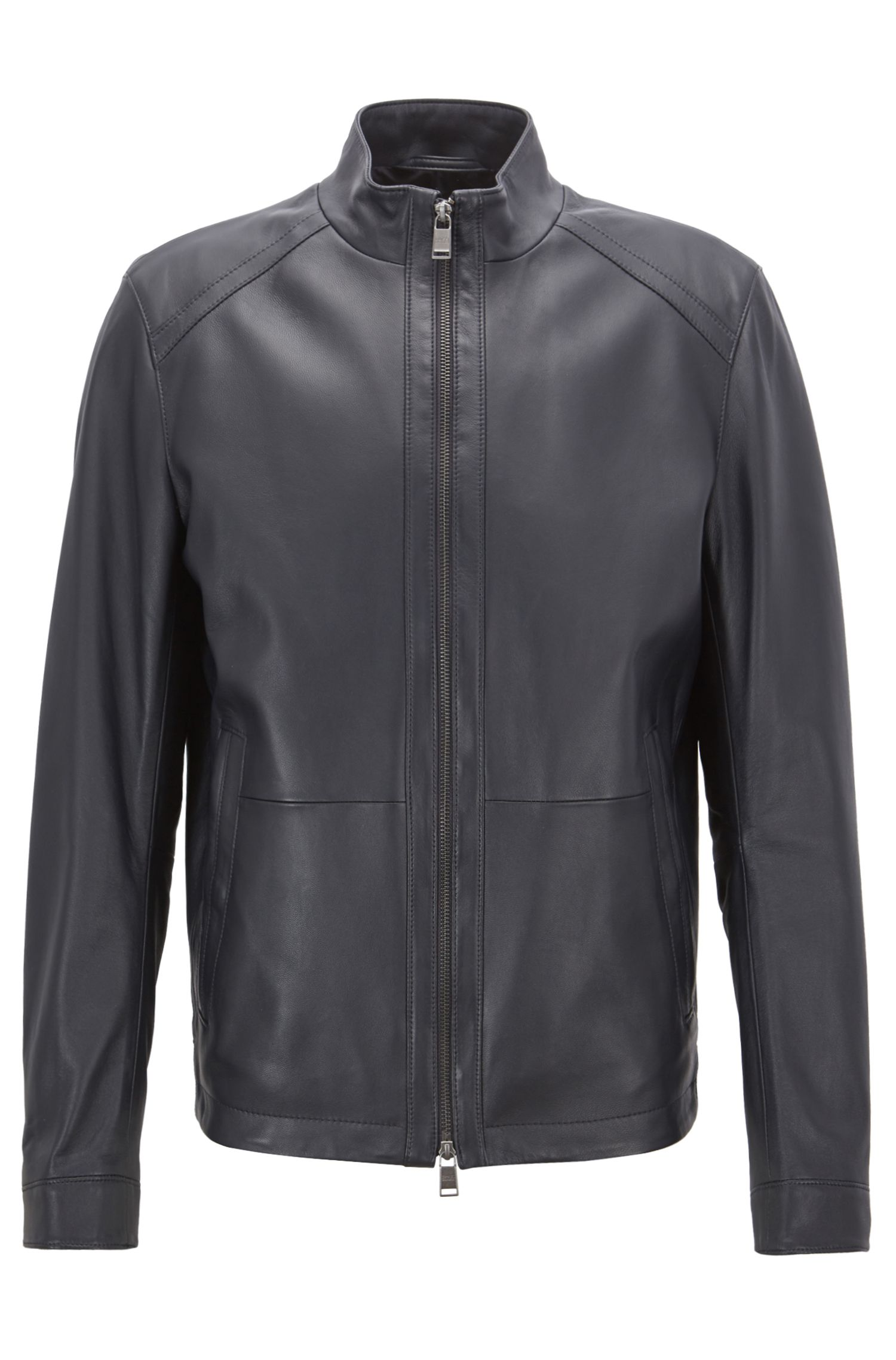 Regular-fit blouson jacket in nappa lambskin, Open Blue