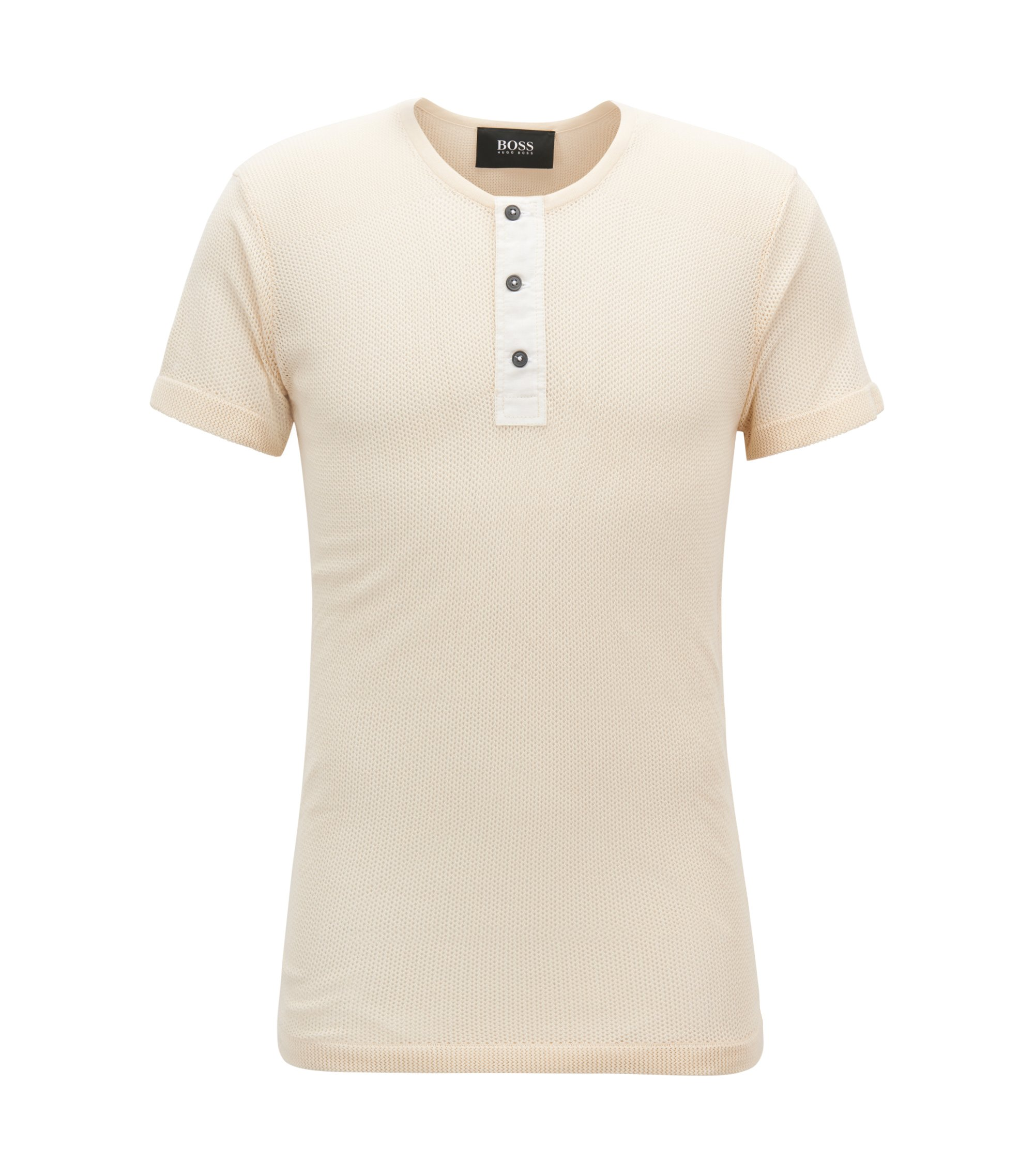Short-Sleeve Cotton Sweater | Poseidon, Natural