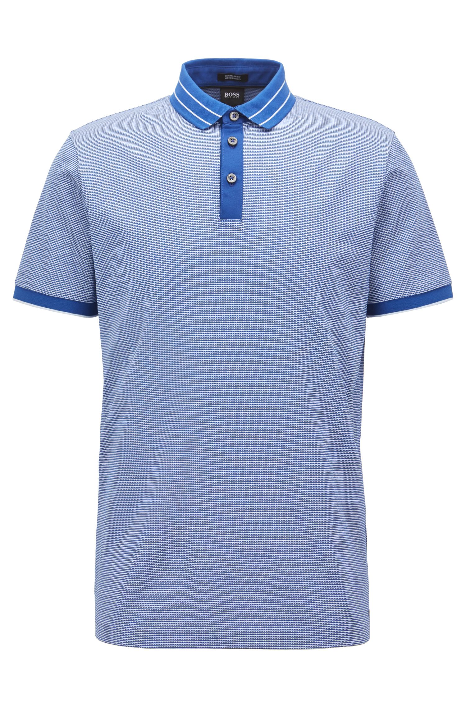 Micro-pattern polo shirt in mercerized cotton jacquard