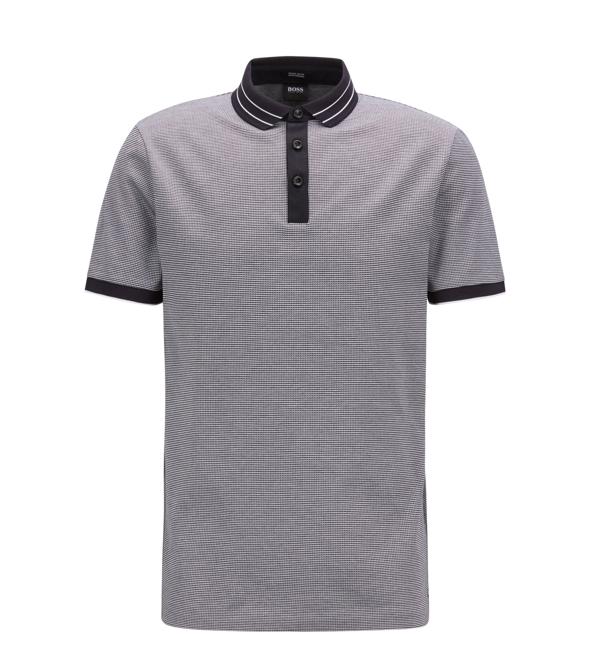 Micro-pattern polo shirt in mercerized cotton jacquard, Open Blue