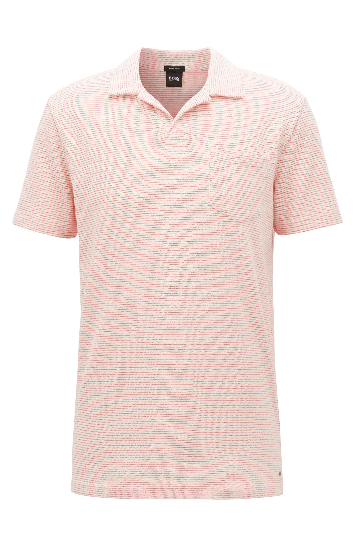 Fine-stripe terry polo shirt with open collar