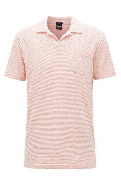e0f7a9b97 BOSS - Fine-stripe terry polo shirt with open collar