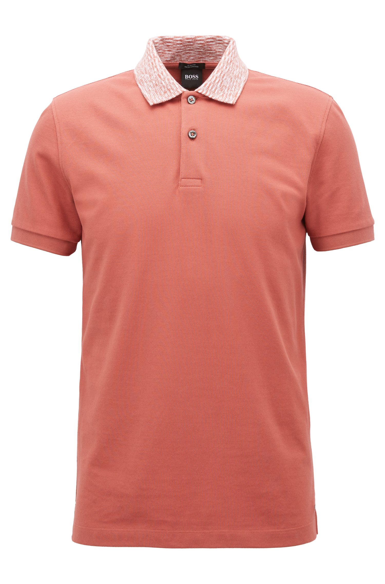 Slim-fit polo shirt with two-tone collar, Open Red