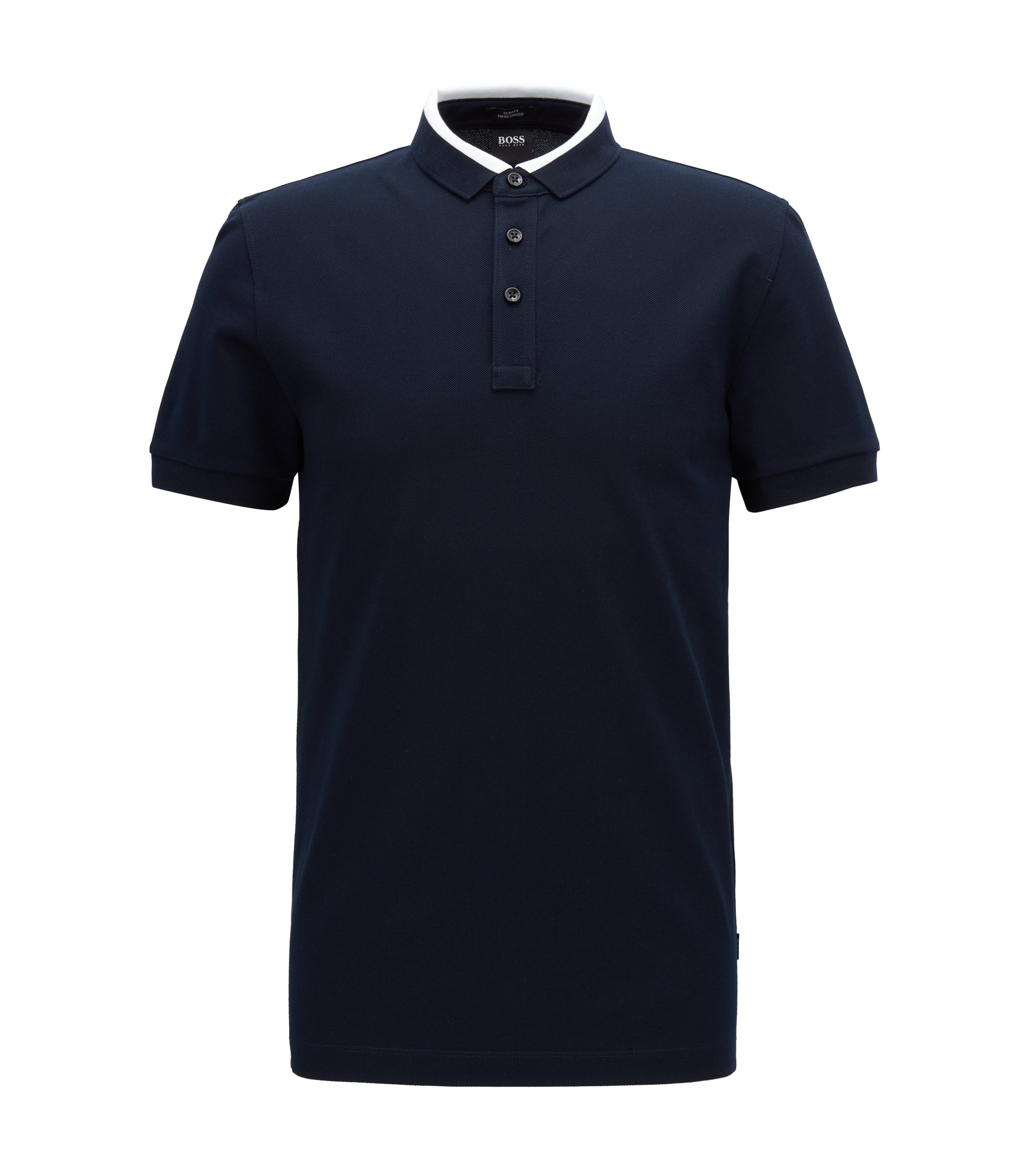 Slim-fit polo shirt in cotton piqué with colorblock collar, Open Blue
