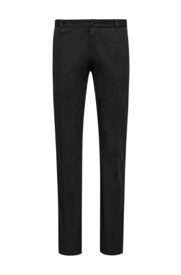 Extra-slim-fit stretch-cotton pants with signature detailing, Black