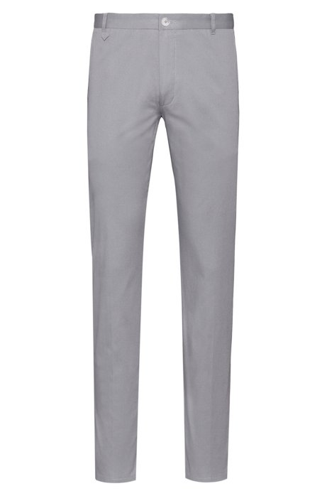 Extra-slim-fit stretch-cotton pants with signature detailing, Grey