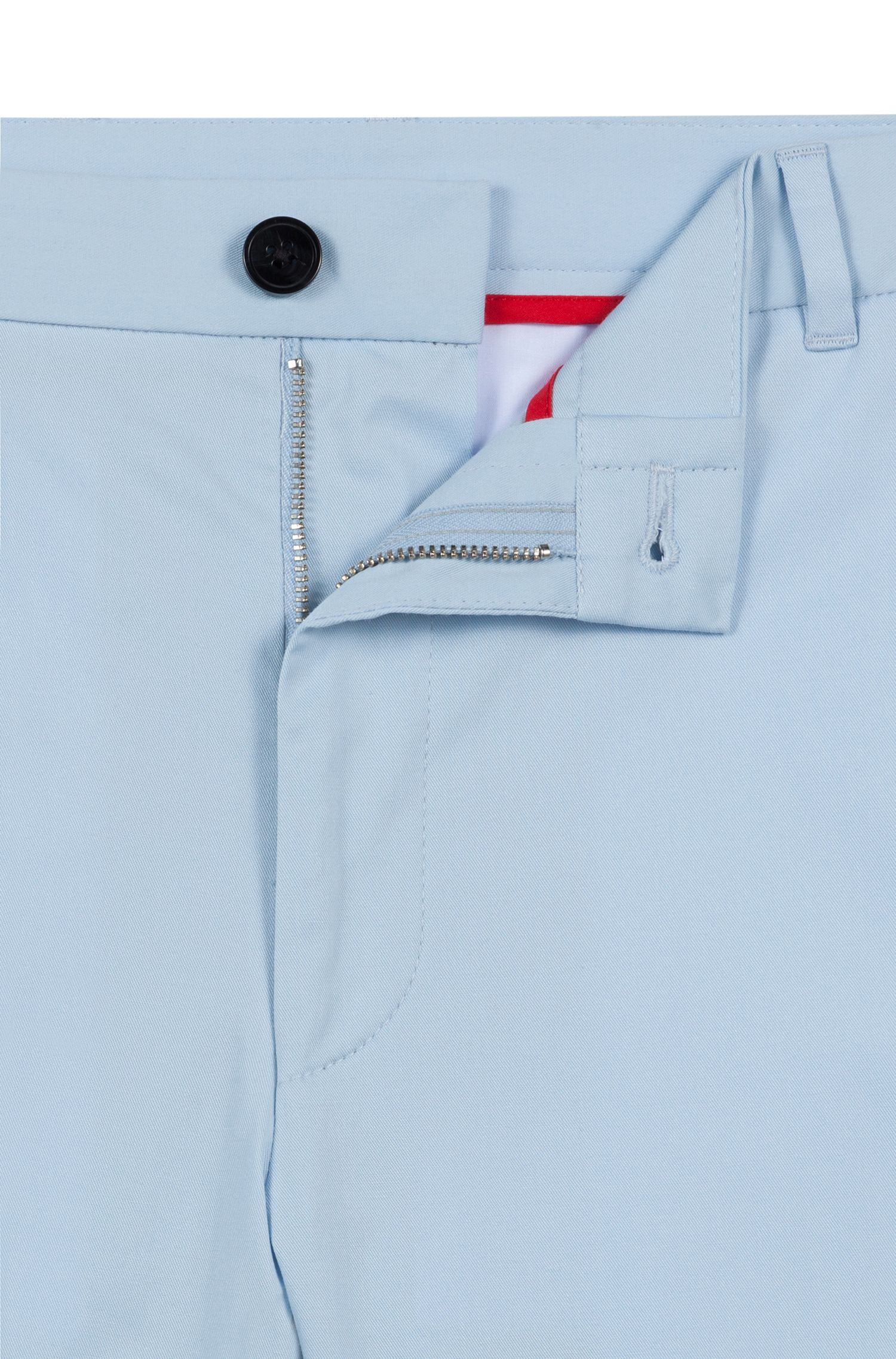 Extra-slim-fit stretch-cotton pants with signature detailing, Light Blue
