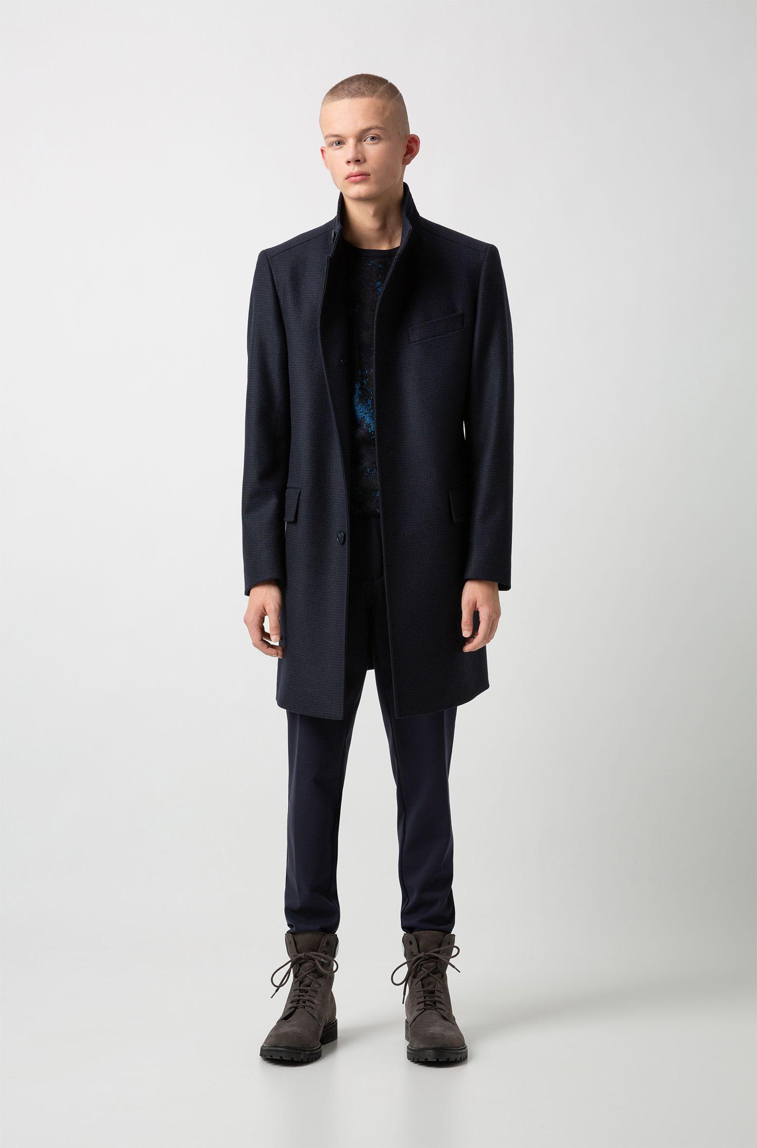 Raw-edge extra-slim-fit chinos in stretch jersey, Dark Blue