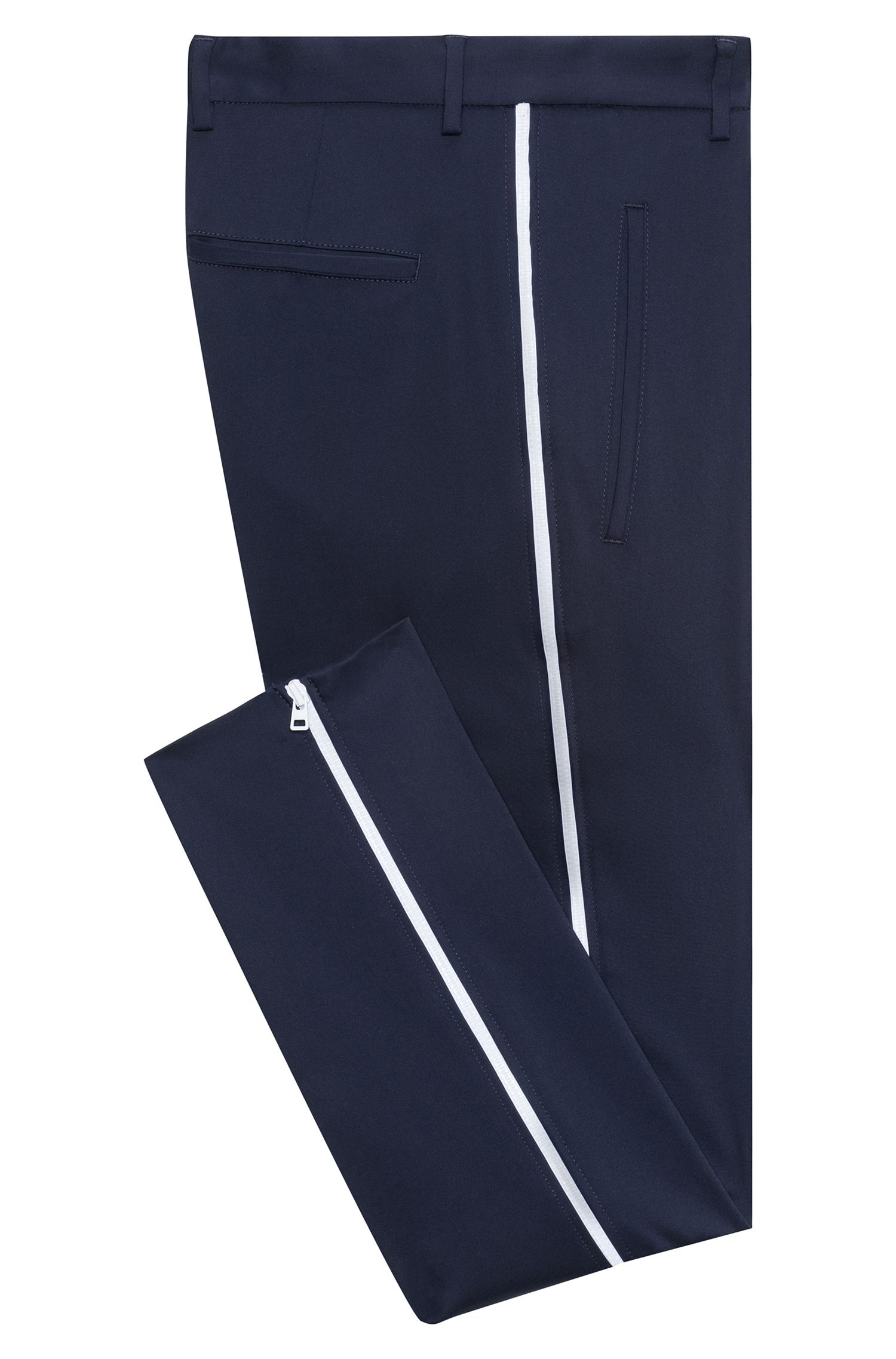 Extra-slim-fit cotton-blend pants with zippered legs, Dark Blue
