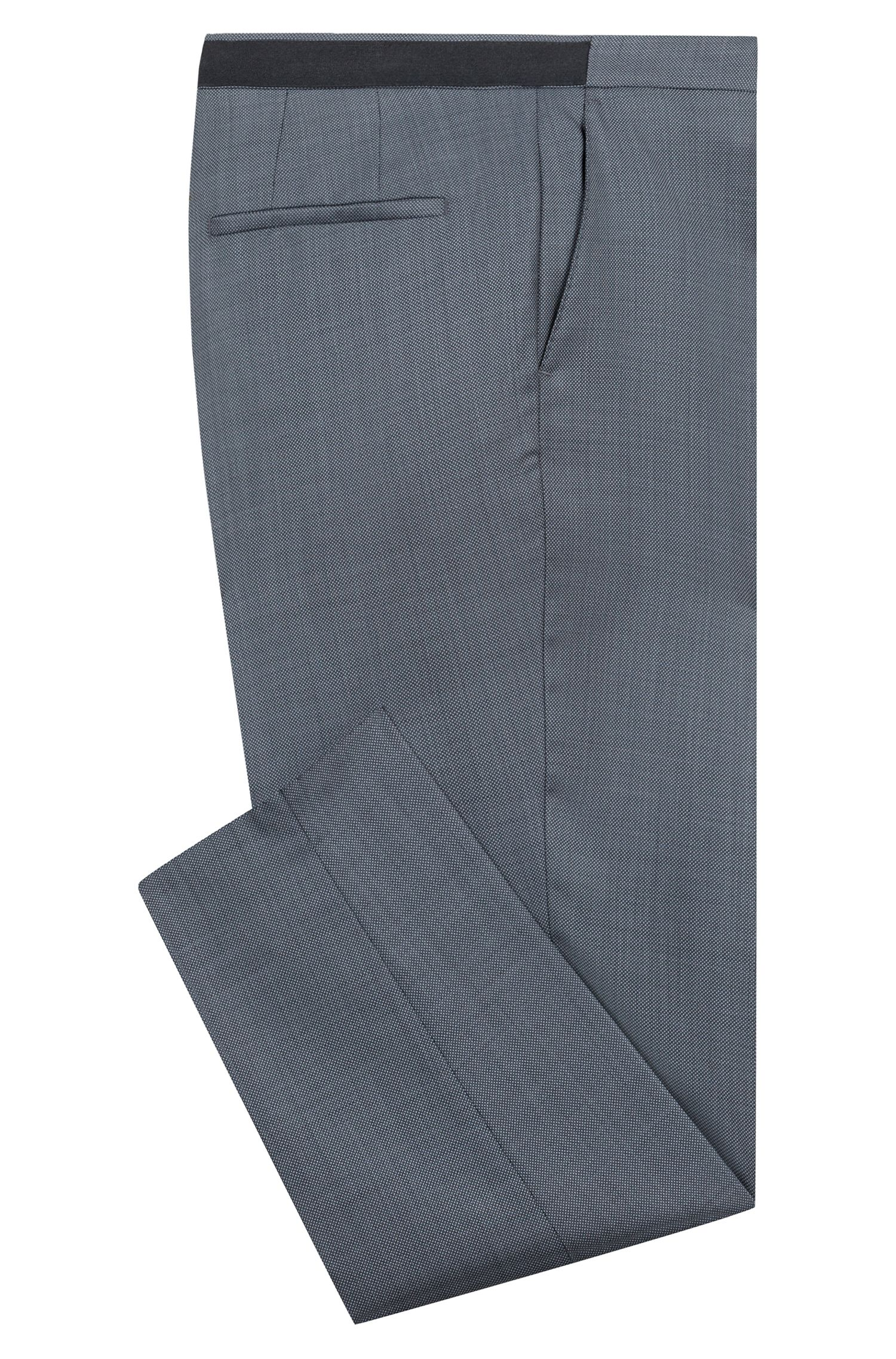 Extra-slim-fit pants in a birdseye wool blend, Charcoal