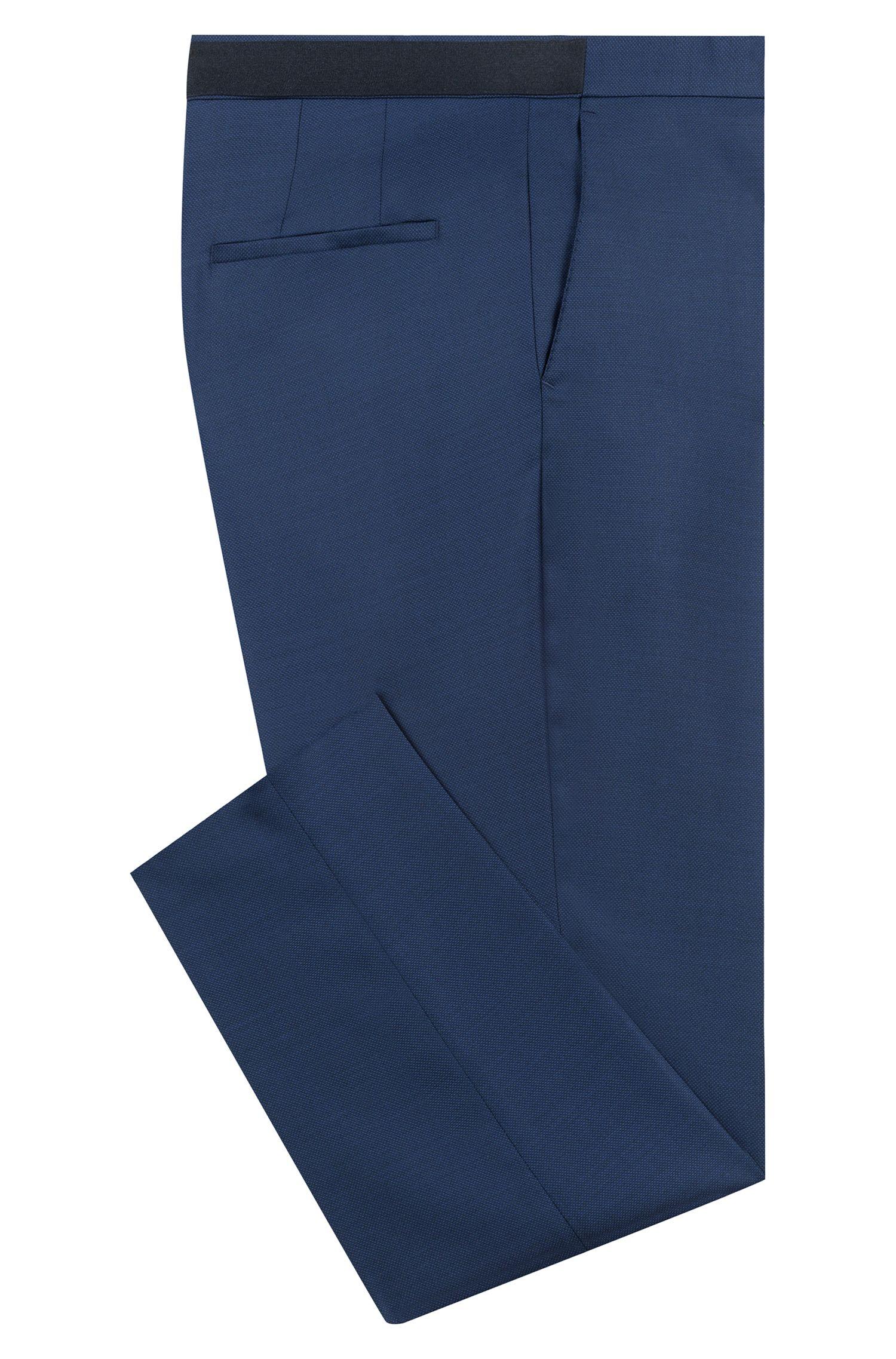 Extra-slim-fit pants in a birdseye wool blend, Dark Blue