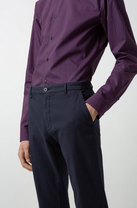 Extra-slim-fit stretch-cotton pants with mesh effect, Dark Blue