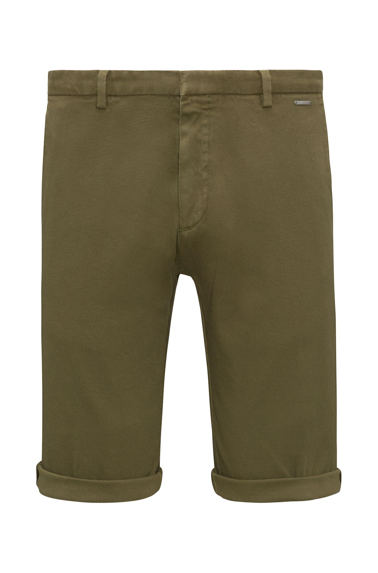 Slim-fit shorts in mesh-structure stretch cotton, Dark Green