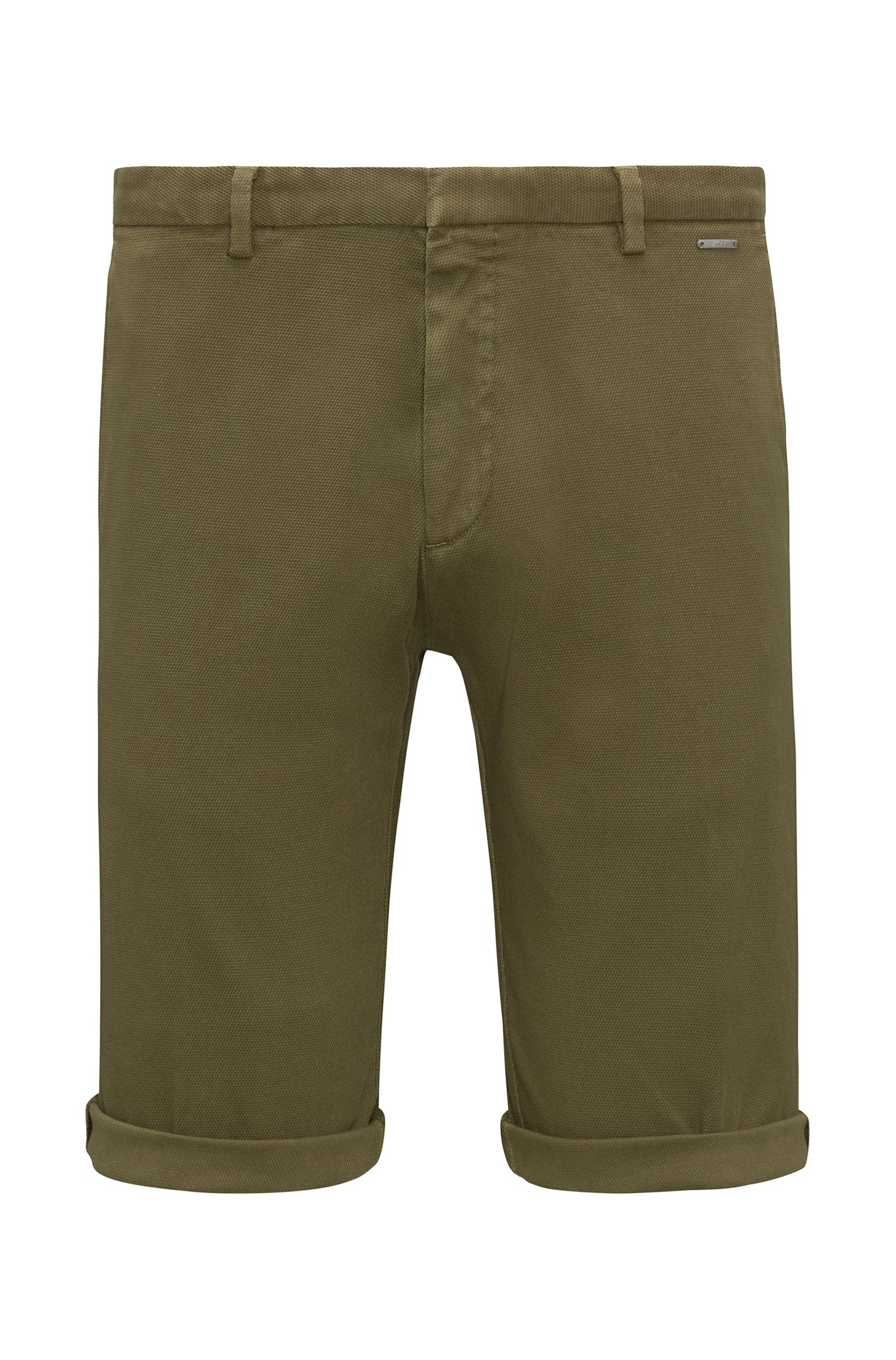 Slim-fit shorts in mesh-structure stretch cotton