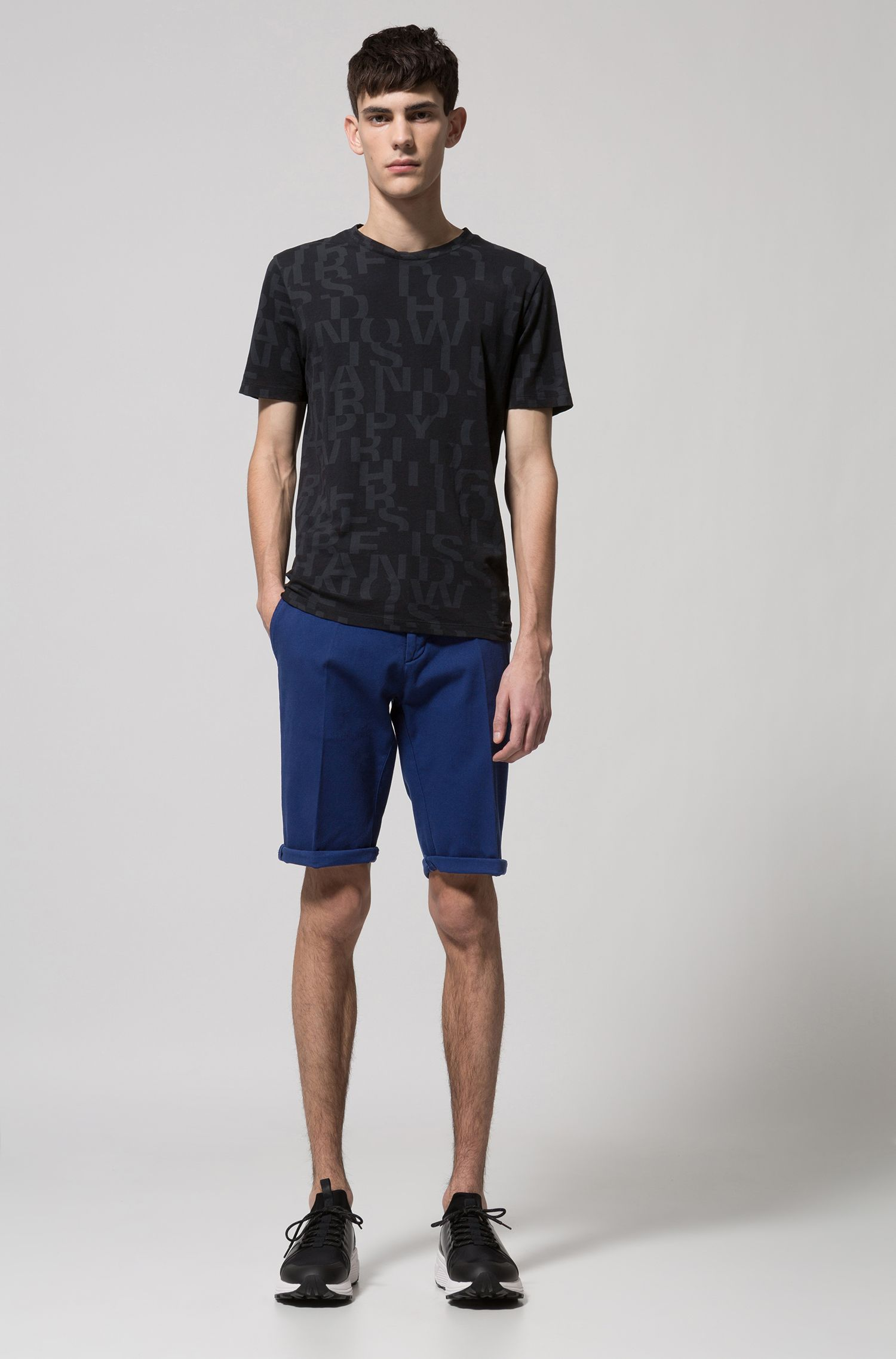 Slim-fit shorts in mesh-structure stretch cotton, Dark Blue