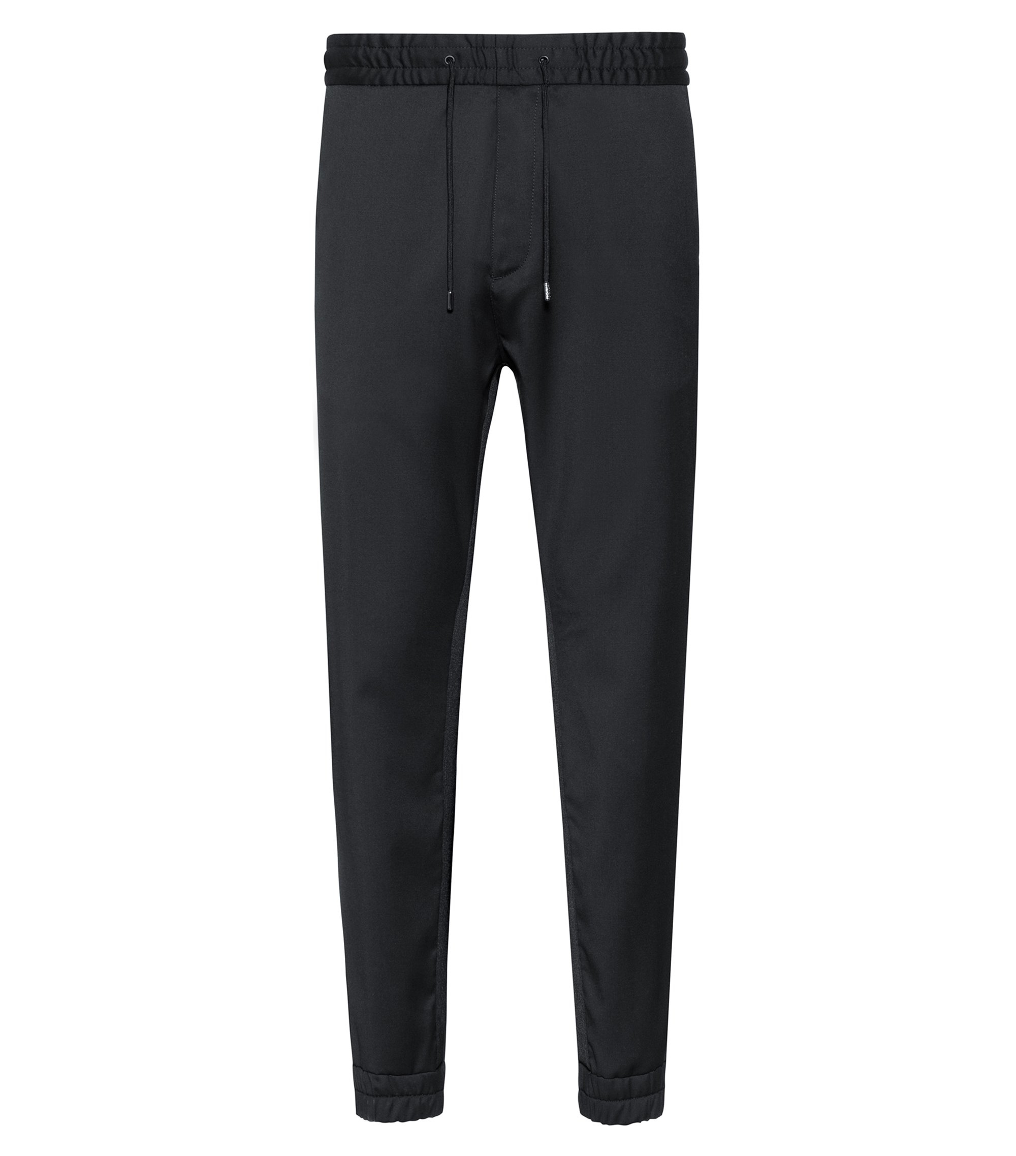 Tapered-fit cuffed pants in virgin wool, Black
