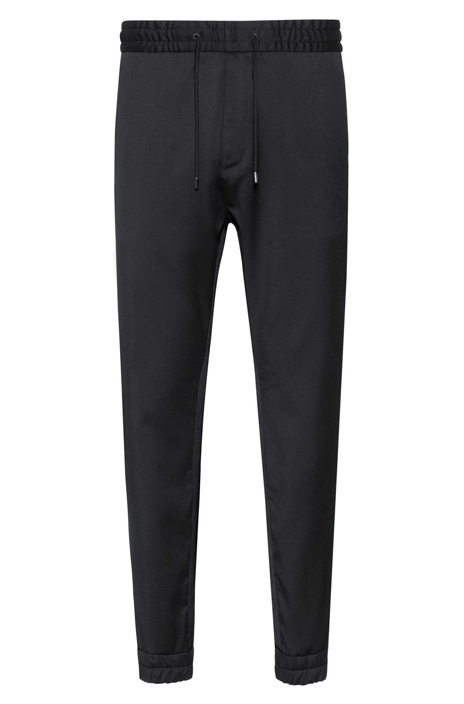 Tapered-fit cuffed pants in virgin wool