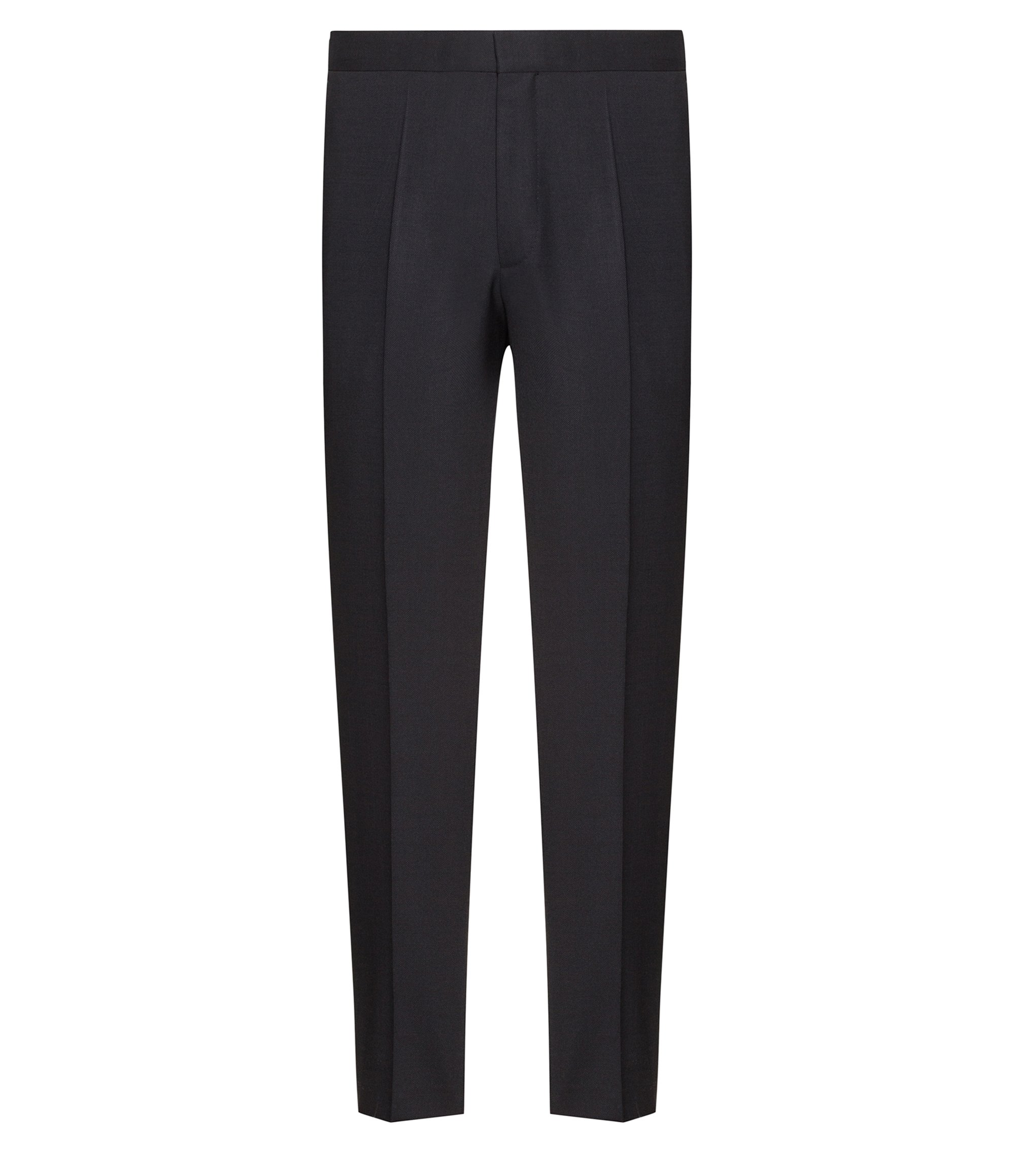 Extra-slim-fit virgin-wool pants with cropped length, Black