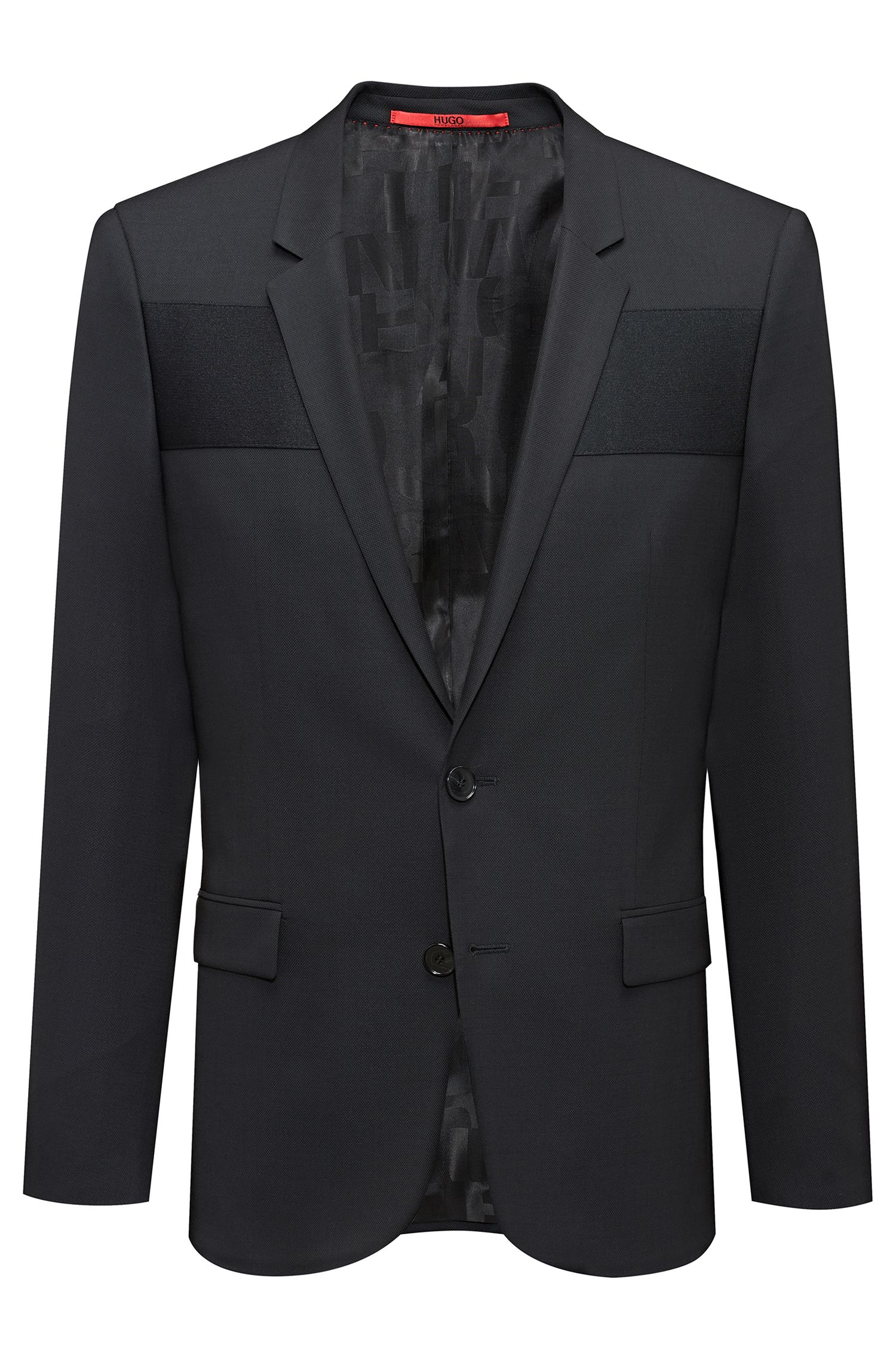 Extra-slim-fit virgin-wool blazer with ottoman paneling, Black
