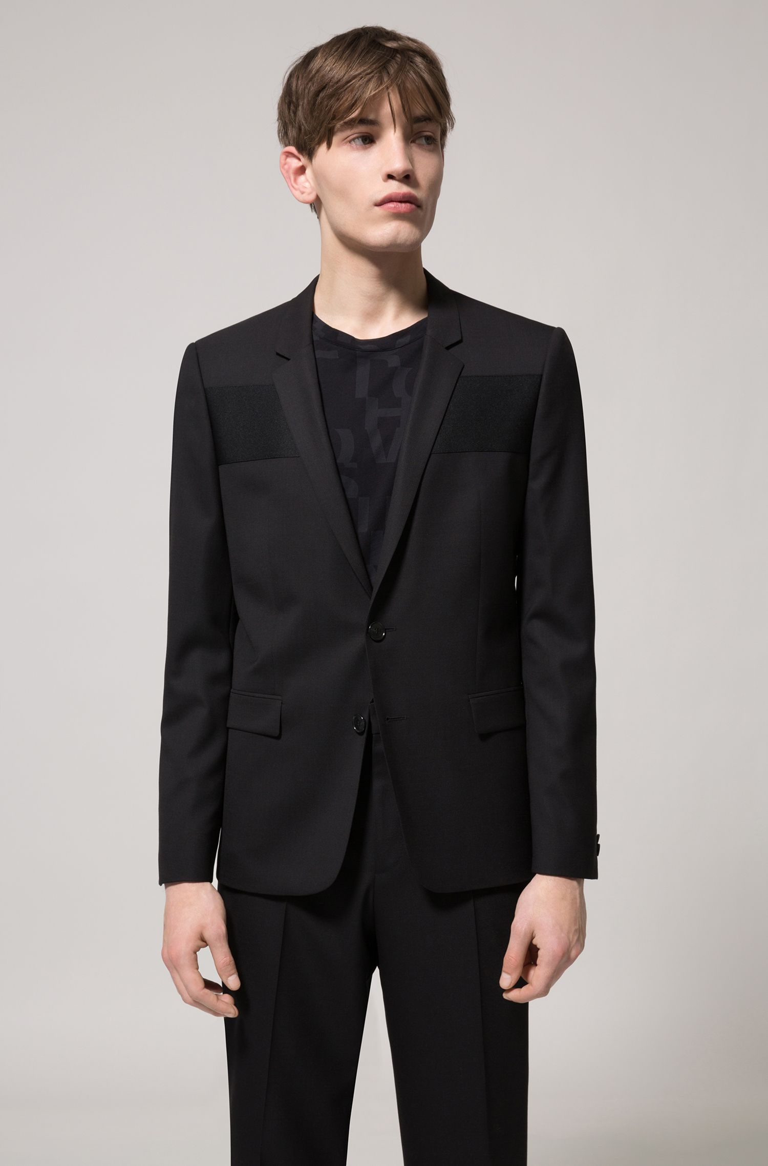 Extra-slim-fit virgin-wool blazer with ottoman paneling