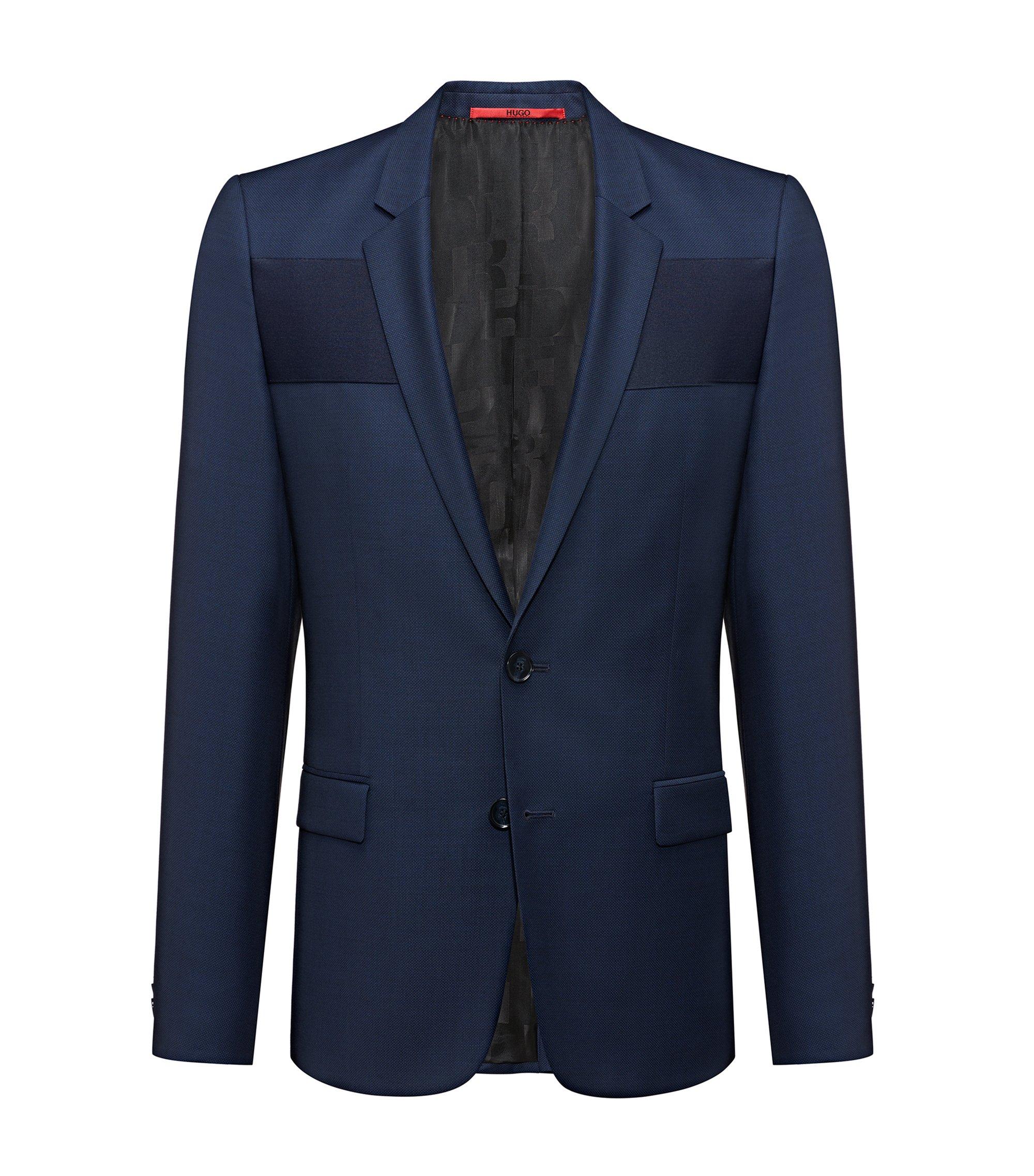 Extra-slim-fit birdseye jacket with contrast band, Dark Blue