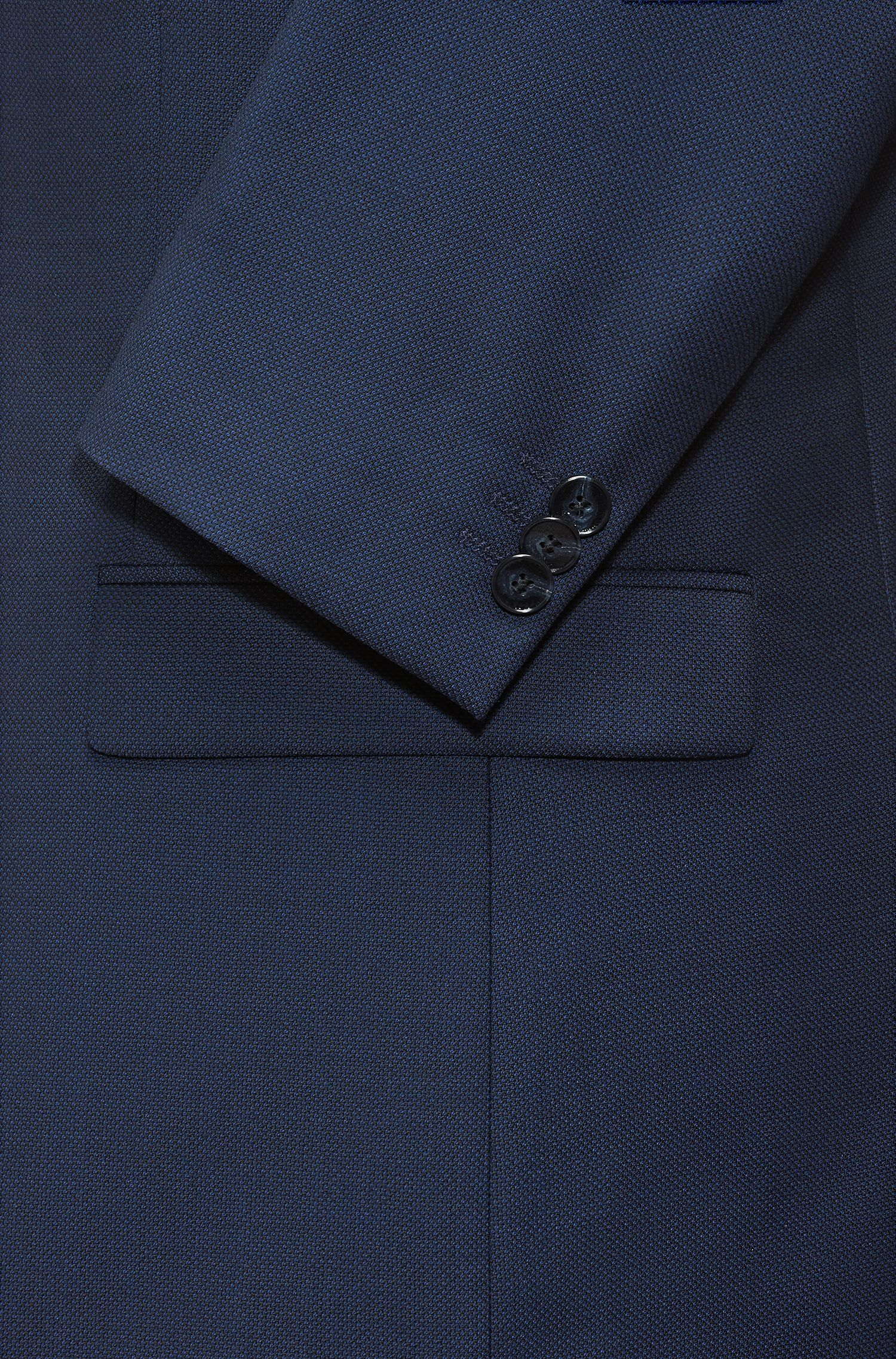 Extra-slim-fit birdseye jacket with contrast band, Dark Blue