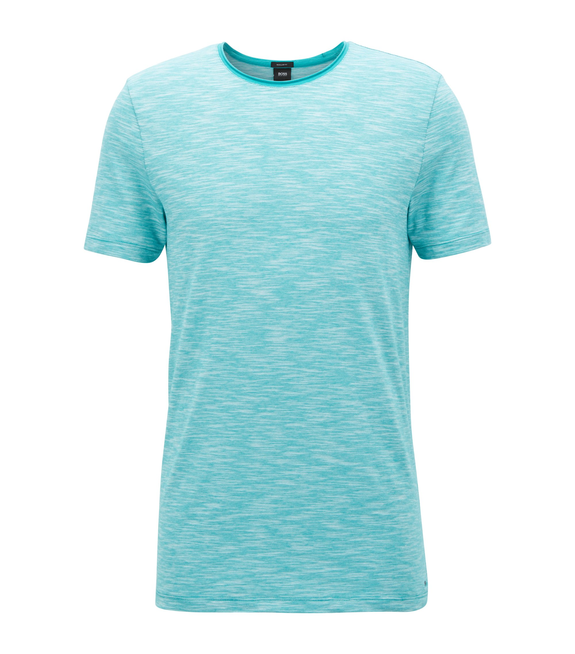 Mouliné T-shirt with raw-cut crew neckline, Green