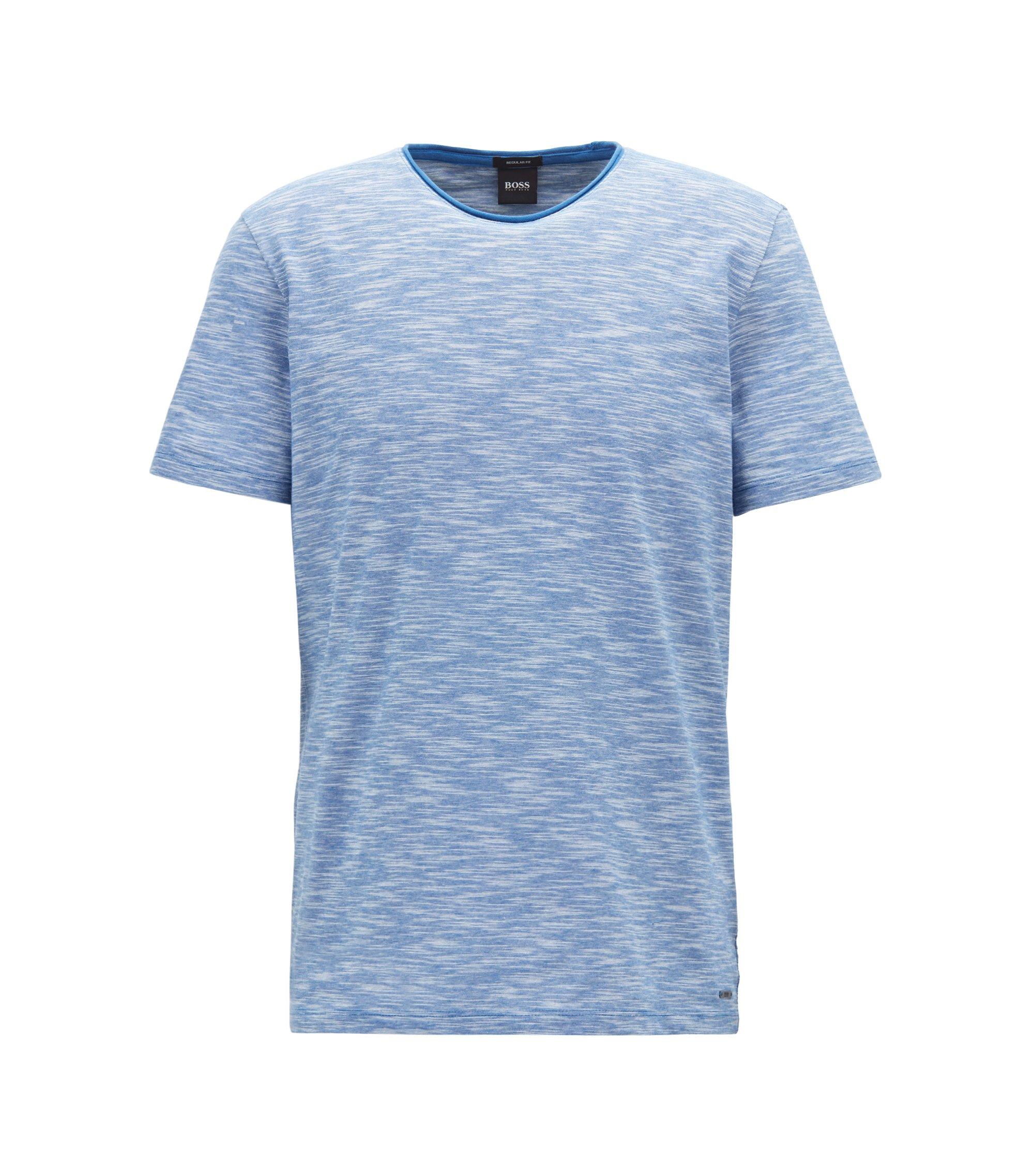 Mouliné T-shirt with raw-cut crew neckline, Open Blue