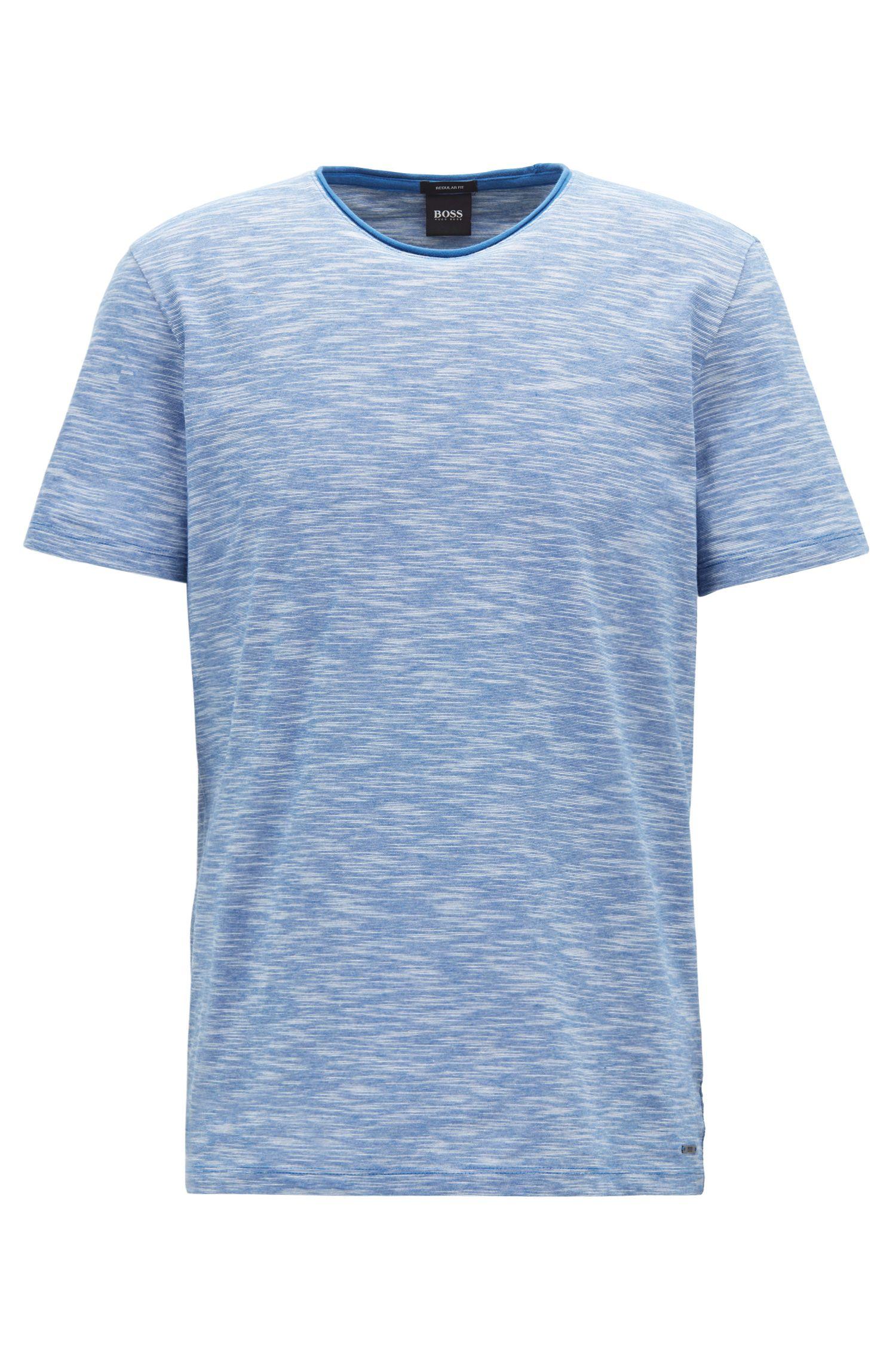 Mouliné T-shirt with raw-cut crew neckline