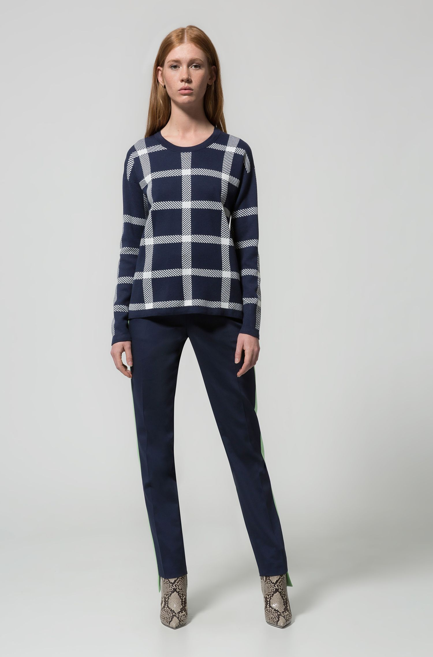 Relaxed-fit checkered sweater in a stretch-cotton blend, Patterned