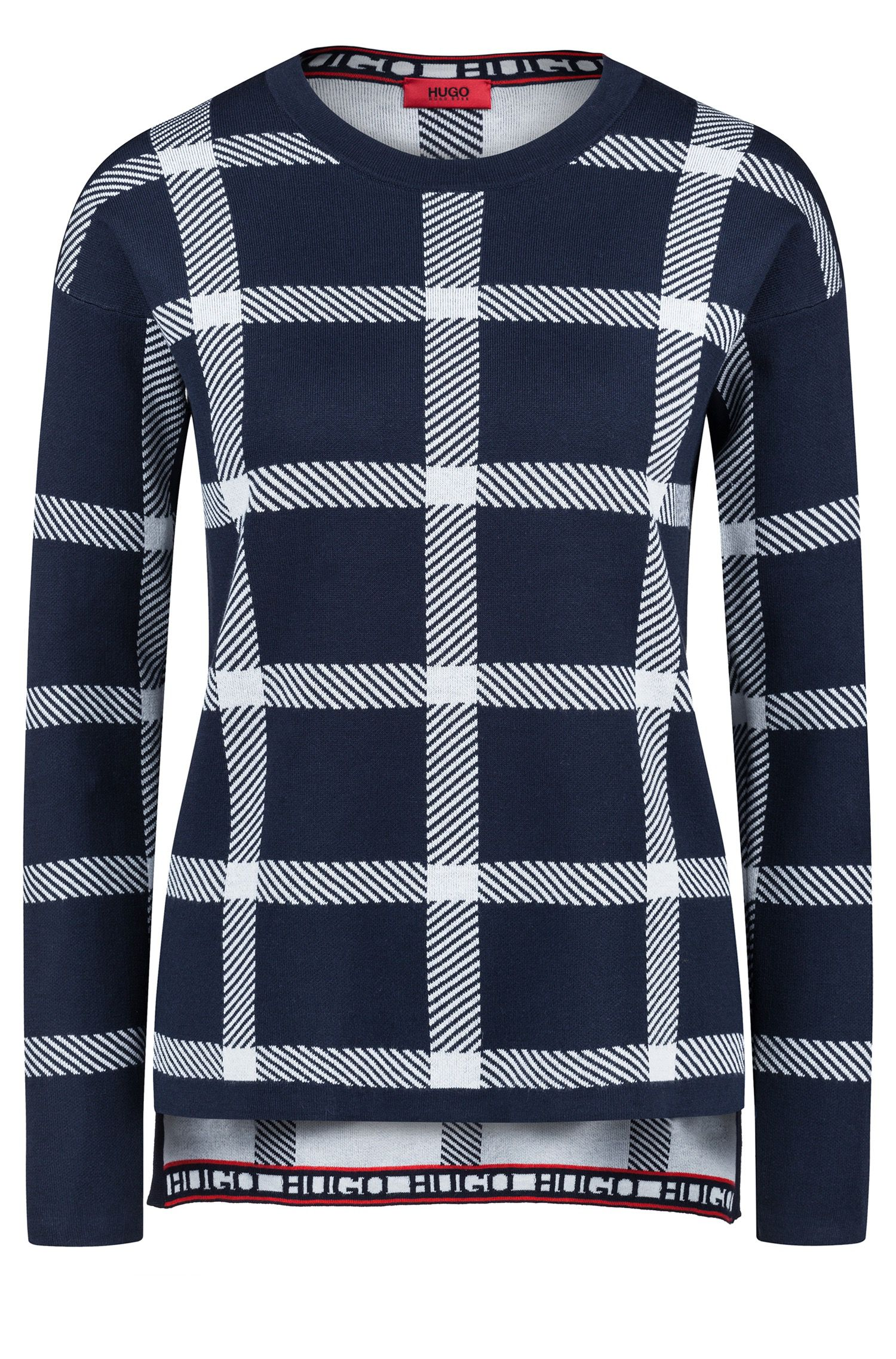 Relaxed-fit checkered sweater in a stretch-cotton blend