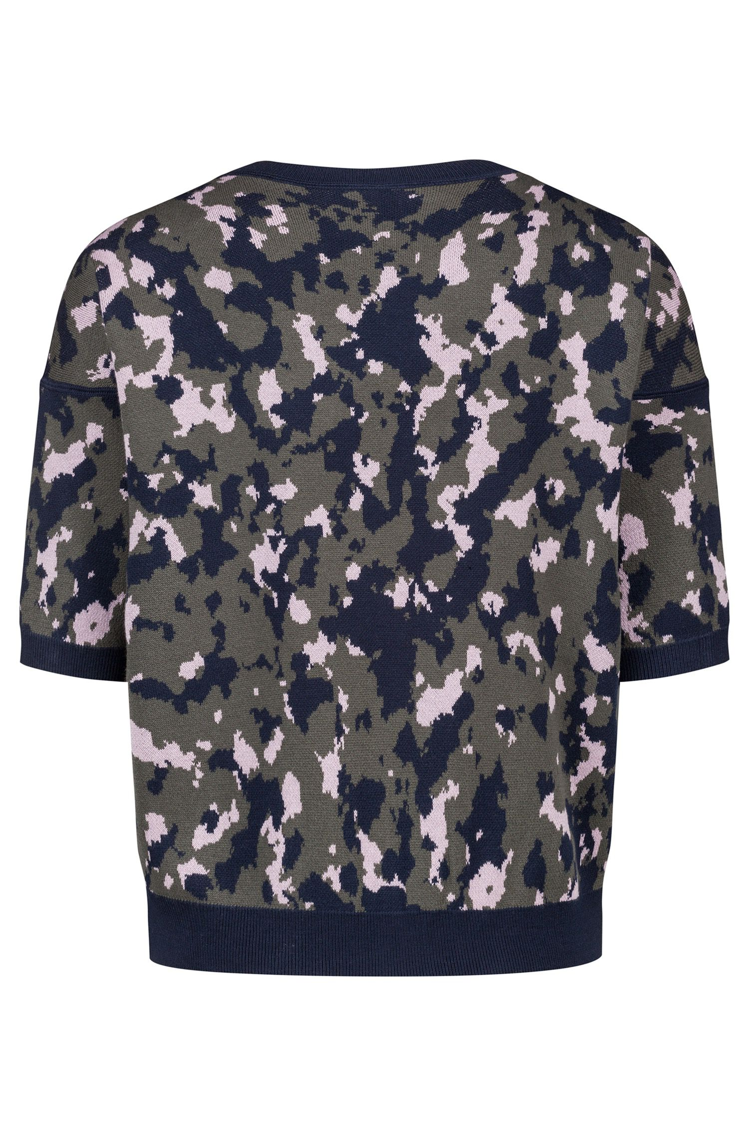 Cotton-blend camouflage sweater with bird appliqué, Patterned
