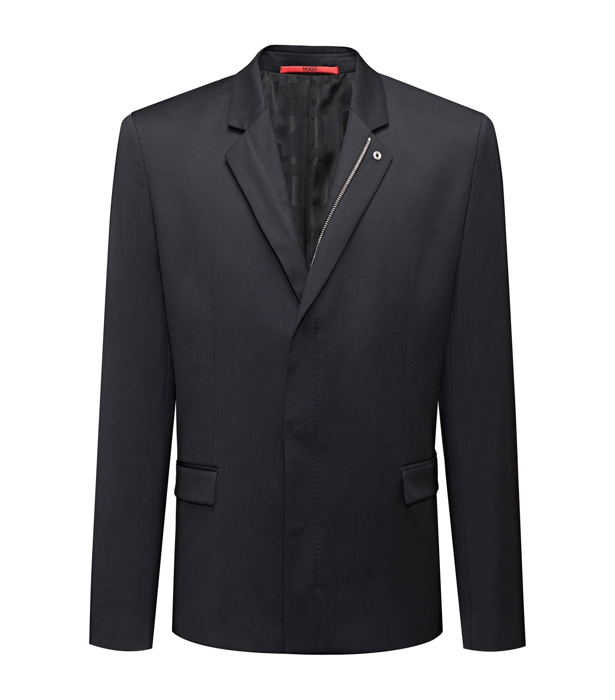 Regular-fit jacket in virgin wool with zipper closure, Black