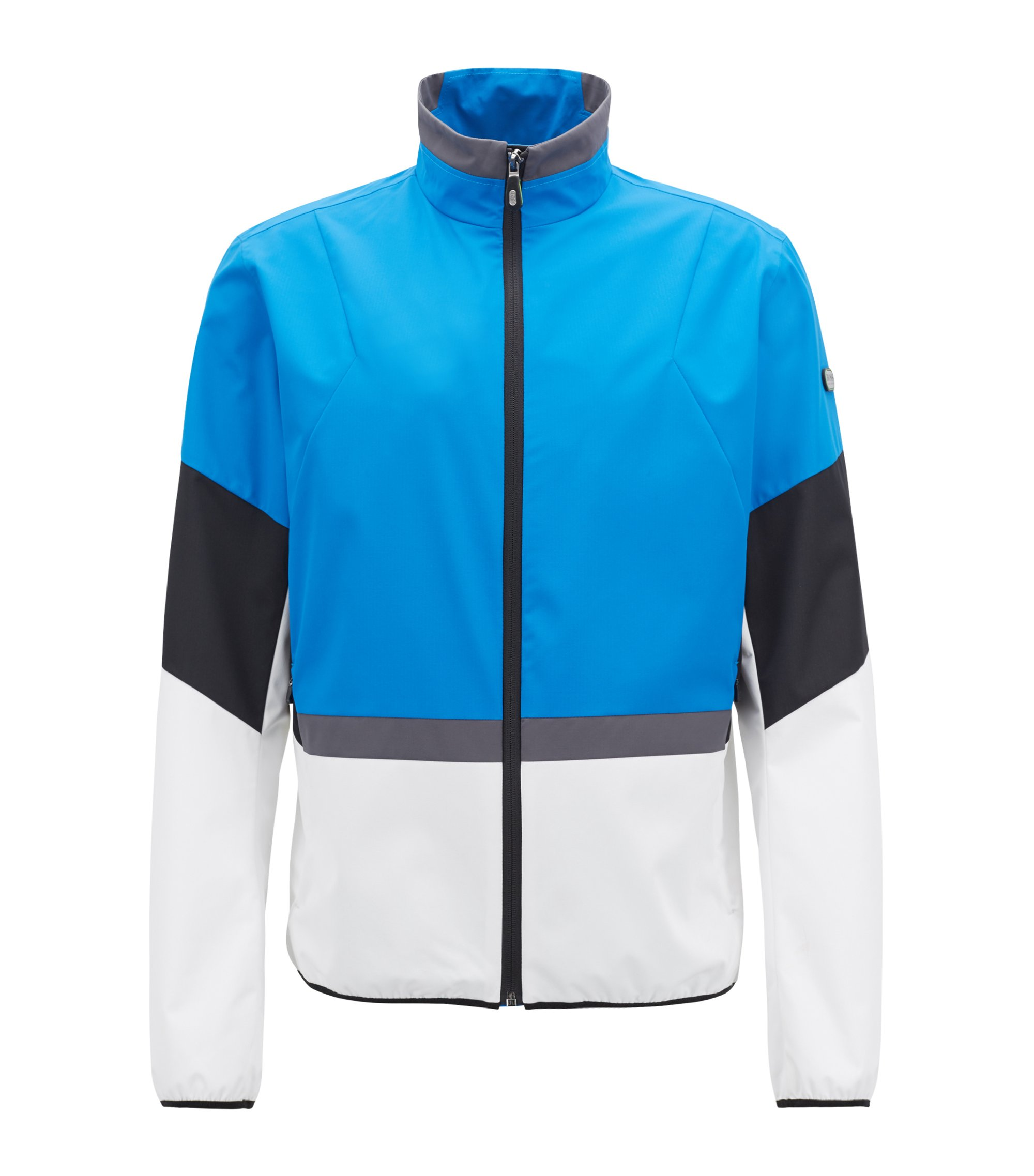 Water-repellent packable jacket with electromagnetic-waves blocker, Blue