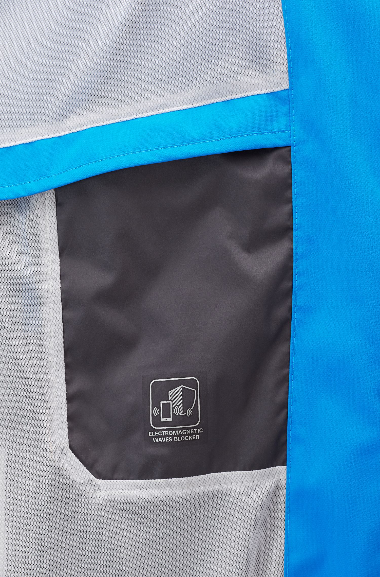 Water-repellent packable jacket with electromagnetic-waves blocker