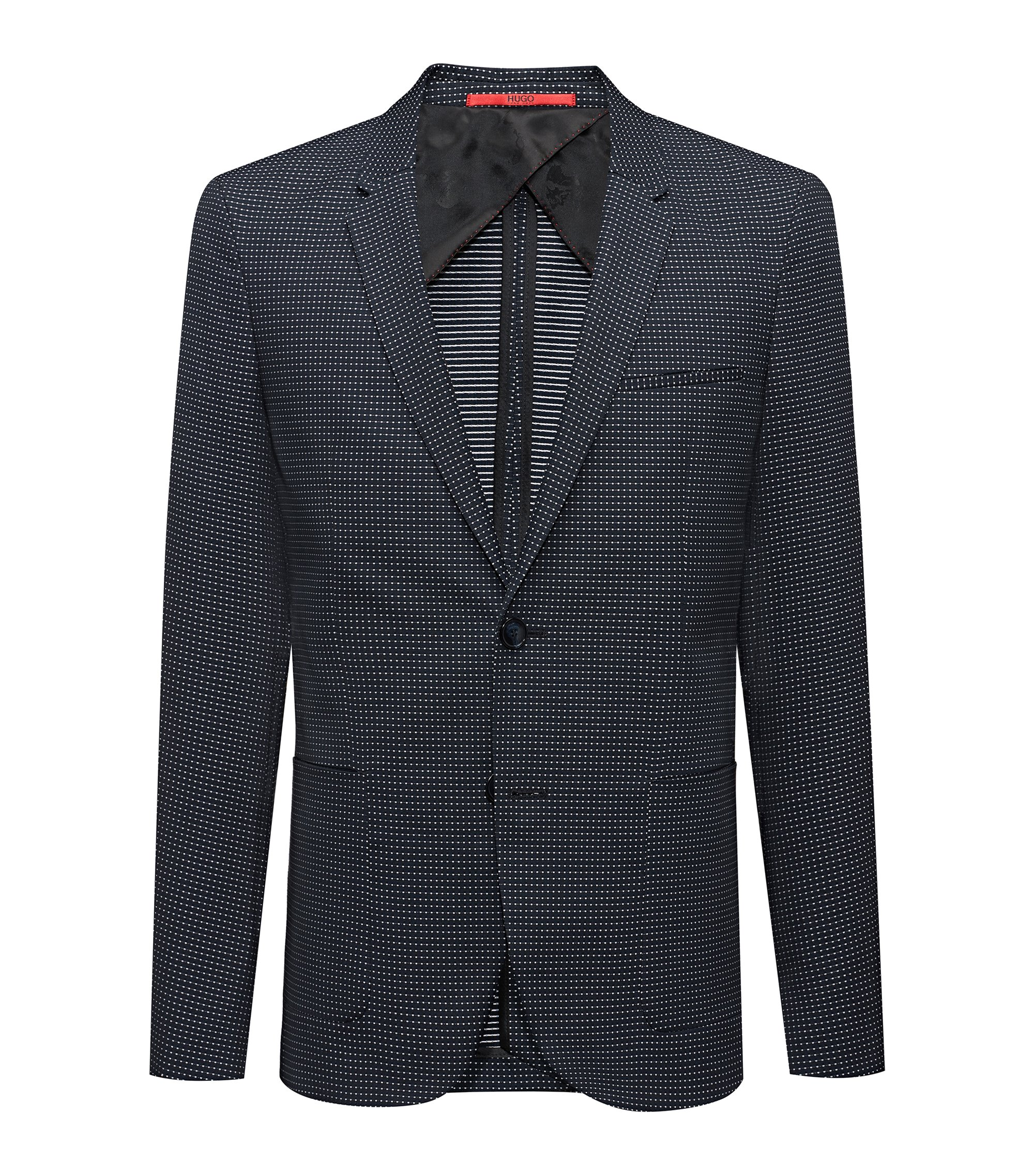 Extra-slim-fit micro-pattern jacket in a stretch cotton blend, Dark Blue