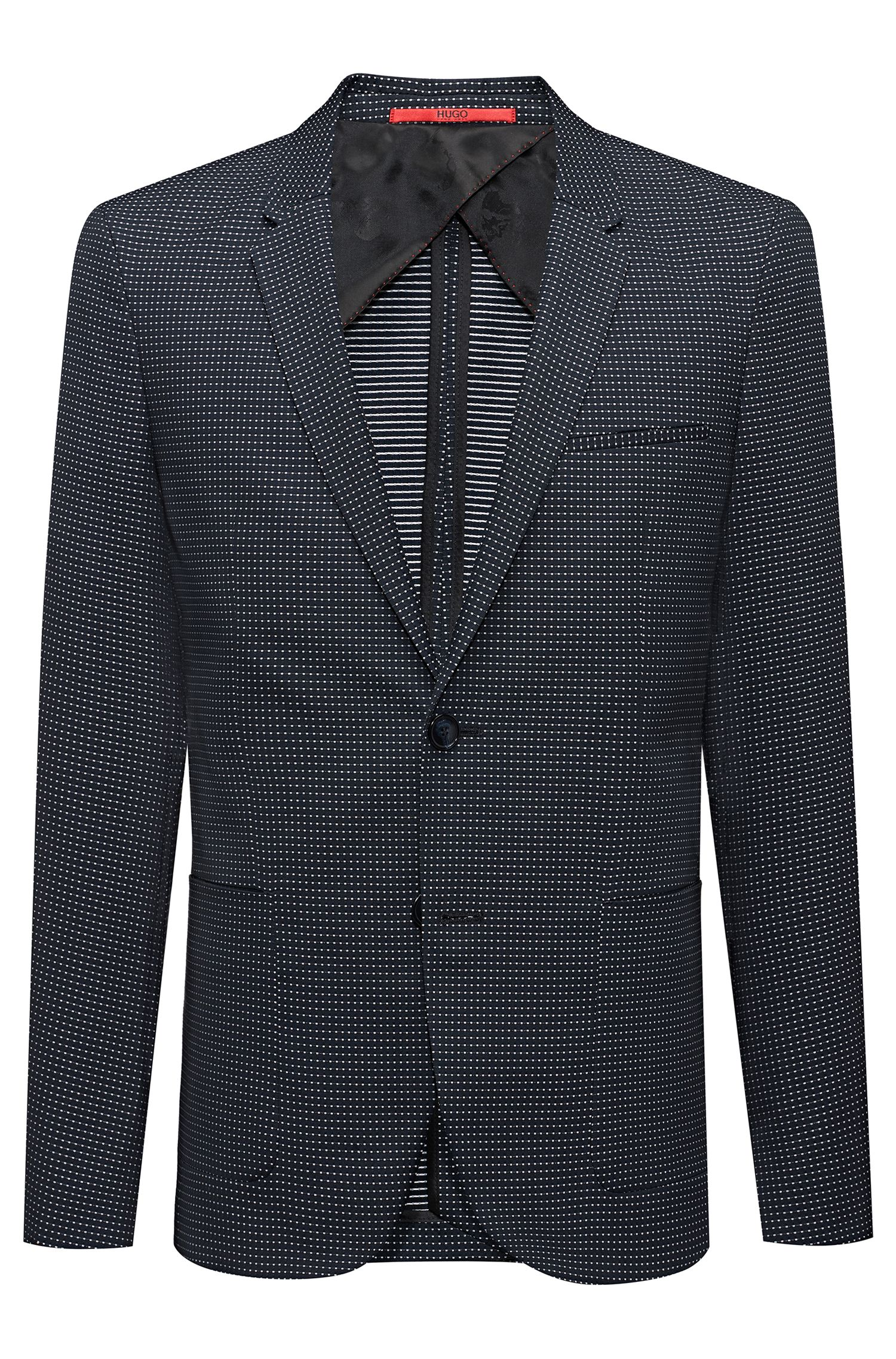 Extra-slim-fit micro-pattern jacket in a stretch cotton blend