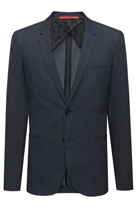 1e7f609d6 HUGO - Extra-slim-fit micro-pattern jacket in a stretch cotton blend