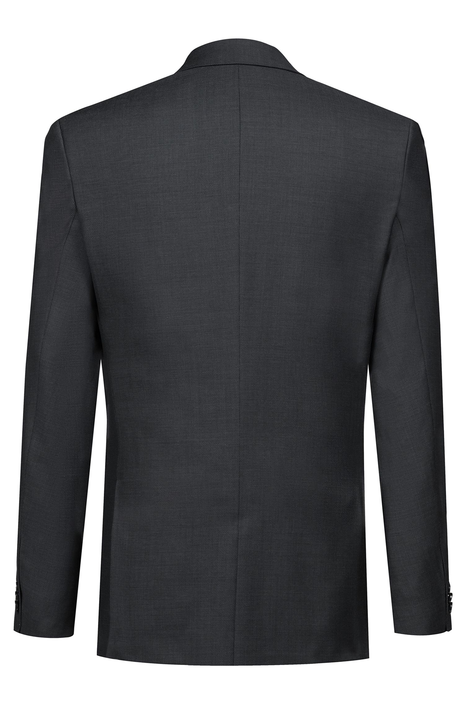 Extra-slim-fit three-piece suit in virgin wool, Charcoal