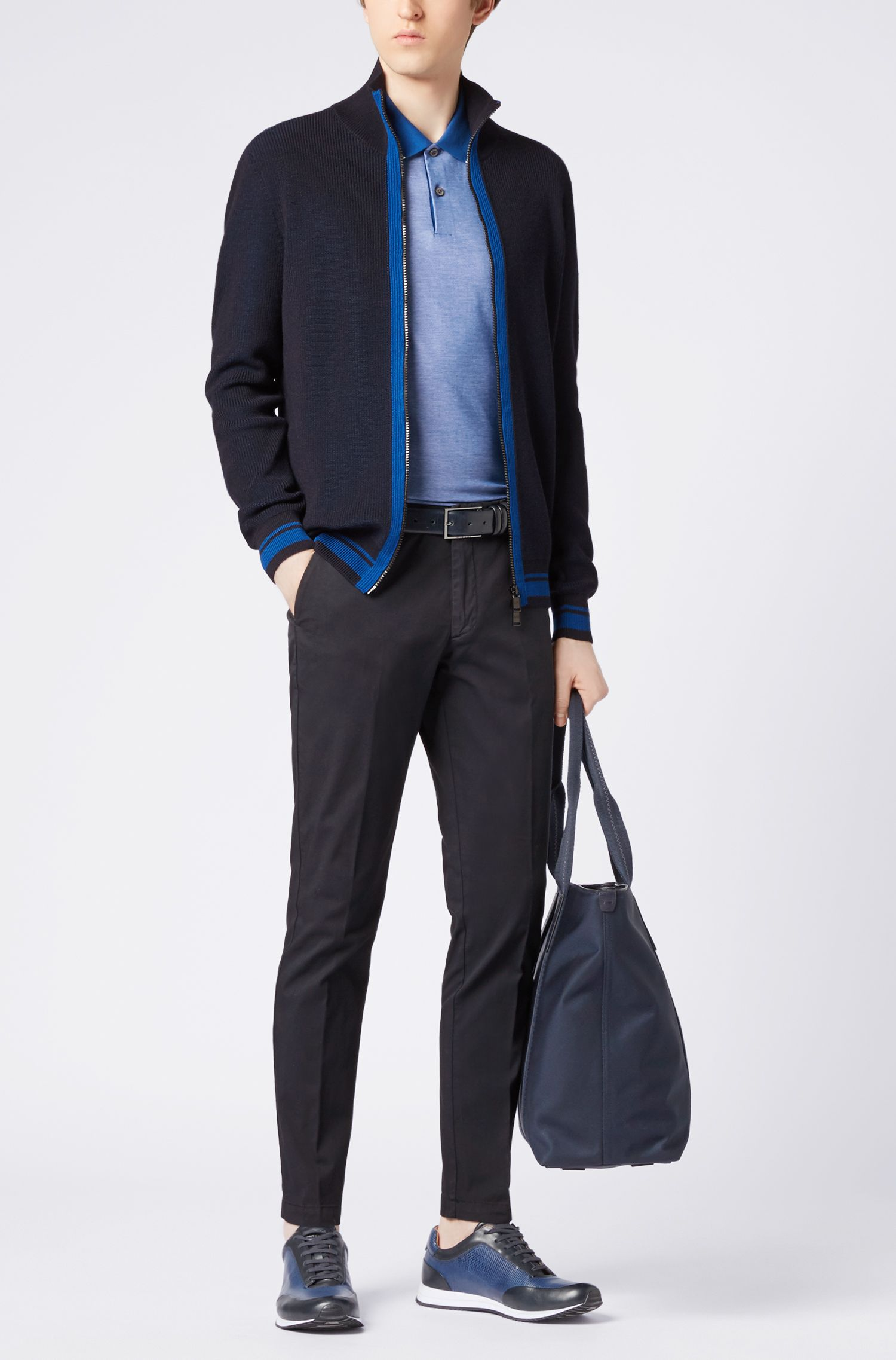 Zip-through knitted jacket in mulesing-free merino wool, Open Blue
