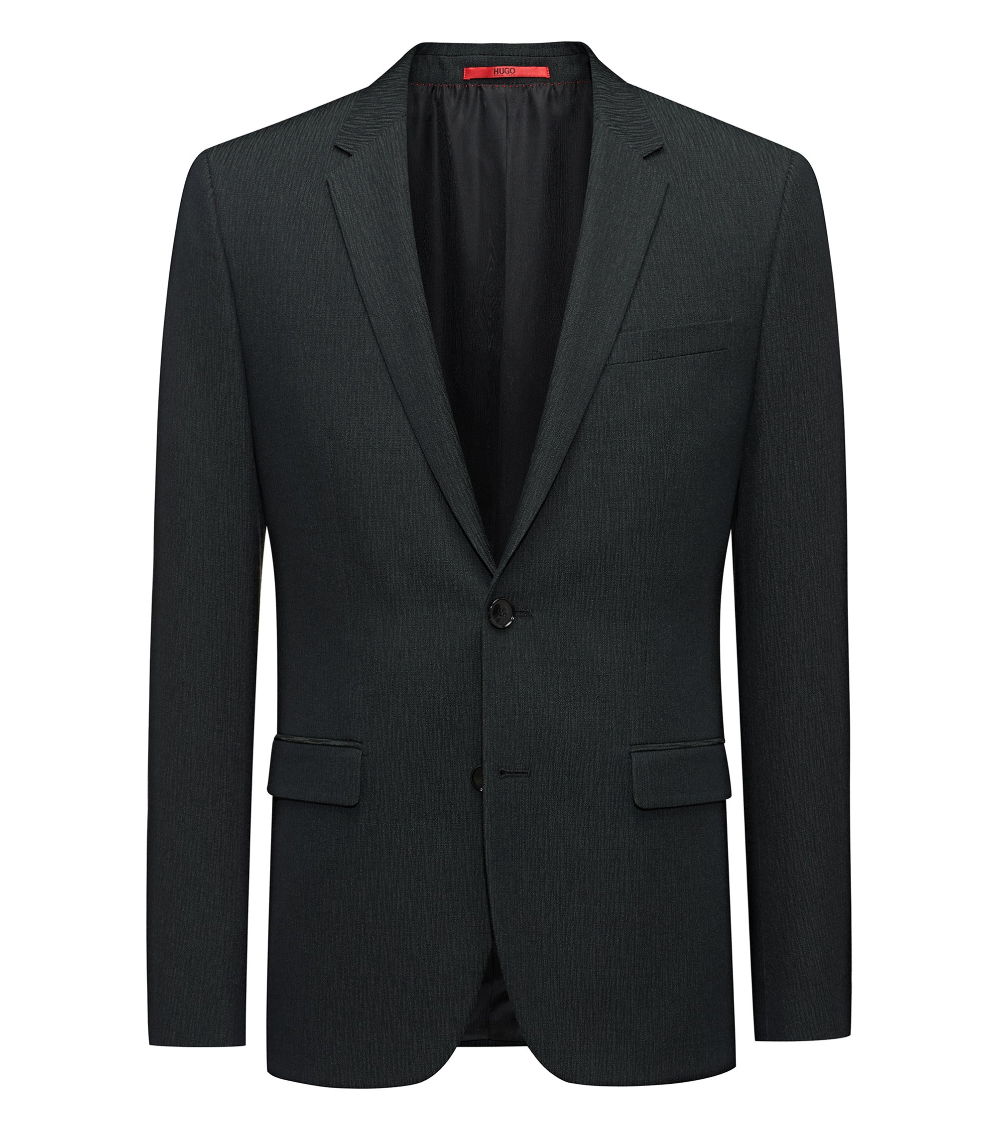 Extra-slim-fit jacket in a structured wool blend, Dark Green