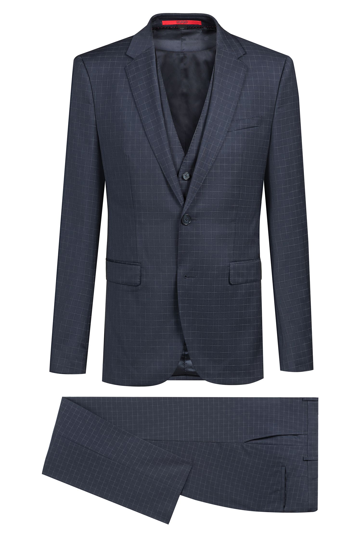 Extra-slim-fit three-piece suit in virgin wool, Dark Blue