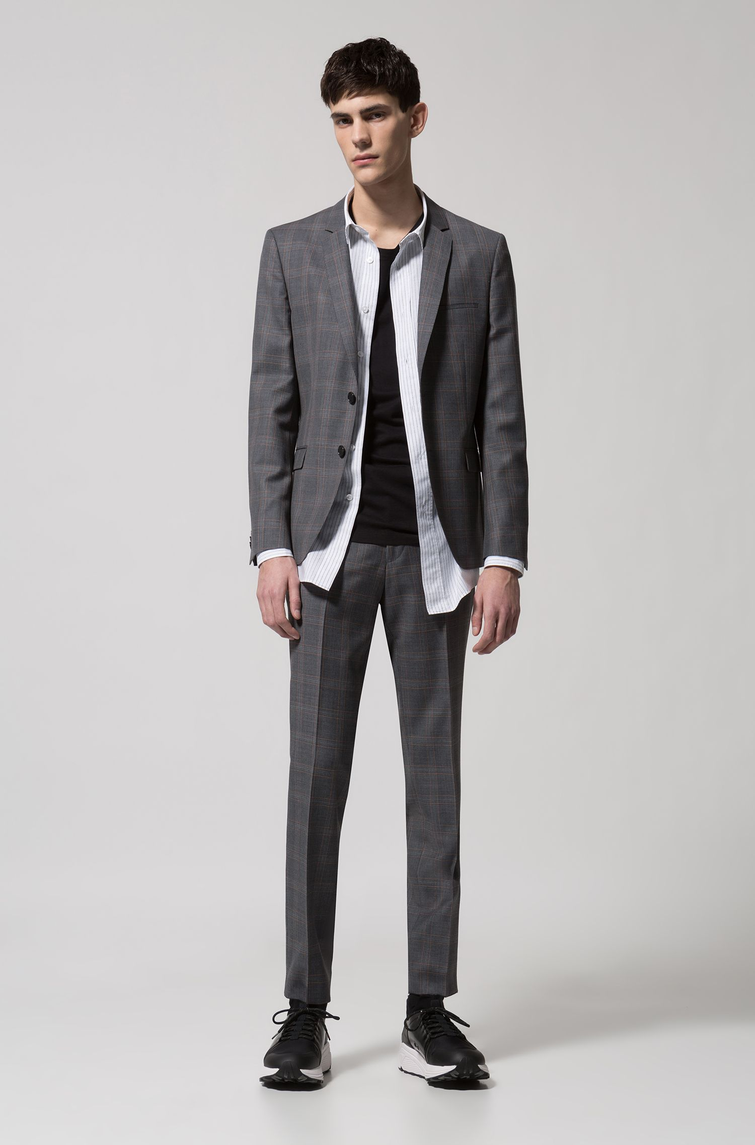 Extra-slim-fit virgin-wool suit in check pattern, Open Grey